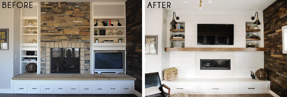 Erin Hatzis Design Agony Emily Henderson White Wood Paneling Floating Mantle Before and After