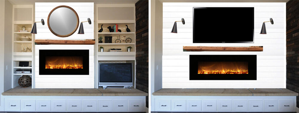 Erin Hatzis Design Agony Emily Henderson White Wood Paneling Floating Mantle MOCKUPS