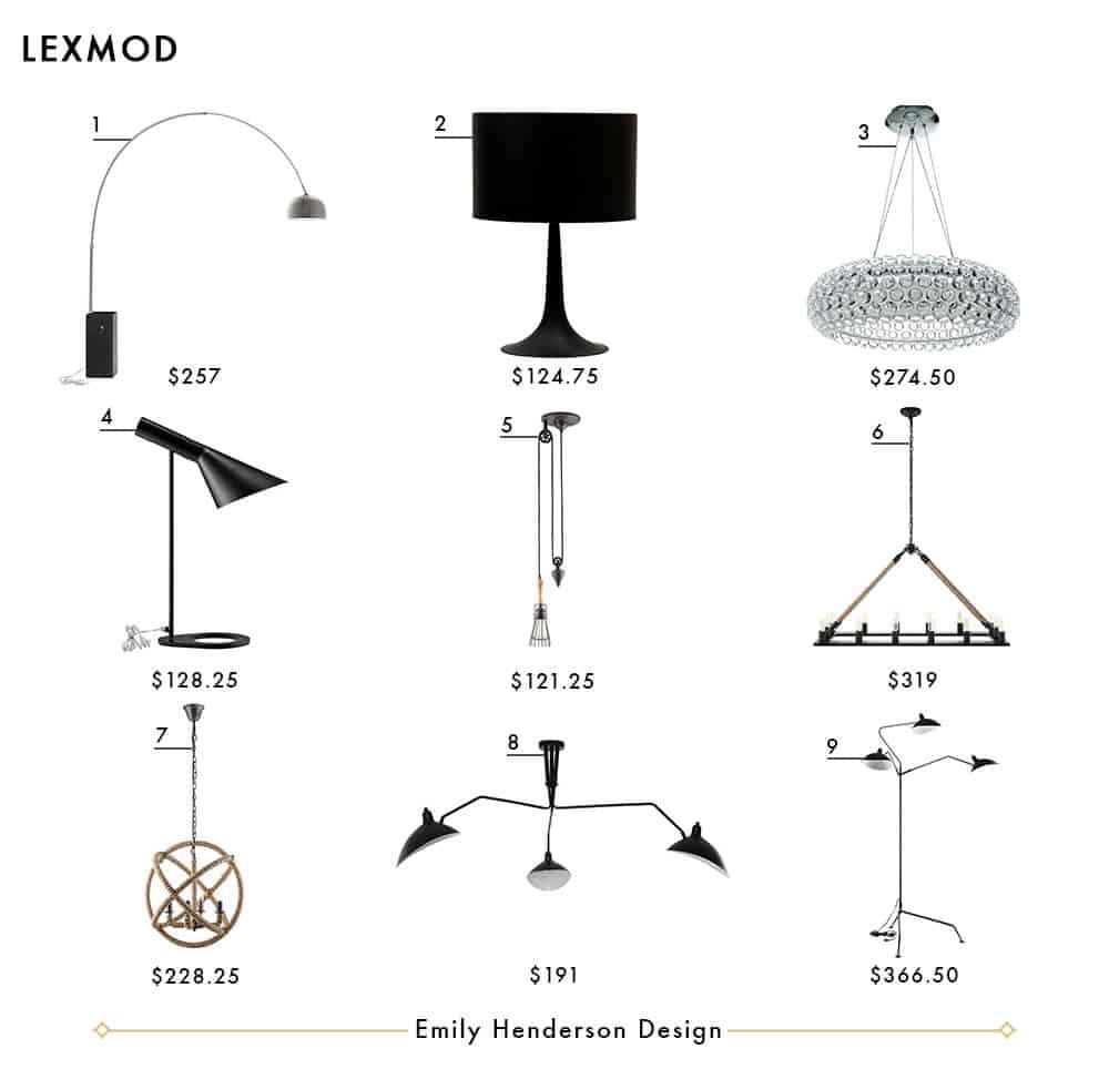 Lexmod Emily Henderson Design Lighting Roundup
