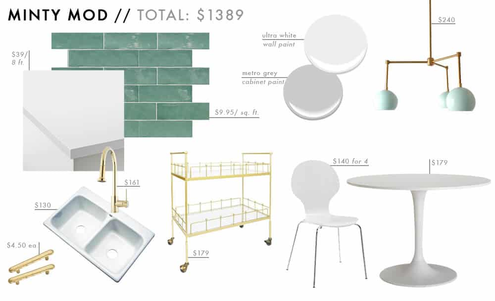 Minty Mod Moodboard Affordable Kitchen Roundup gold brass tuquoise mint Budget Friendly Emily Henderson Design