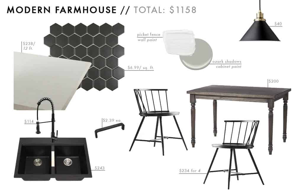 Modern Farmhouse Moodboard Affordable Kitchen Roundup rustic dark masculine Budget Friendly Emily Henderson Design