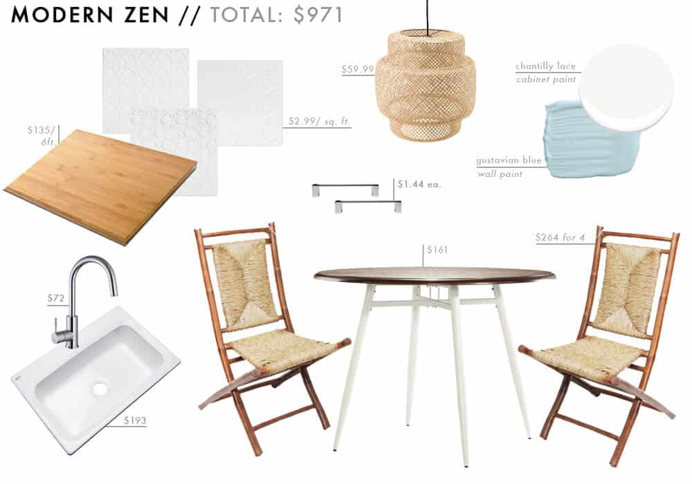 Modern Zen Moodboard Affordable Kitchen Roundup boho blue bamboo Budget Friendly Emily Henderson Design