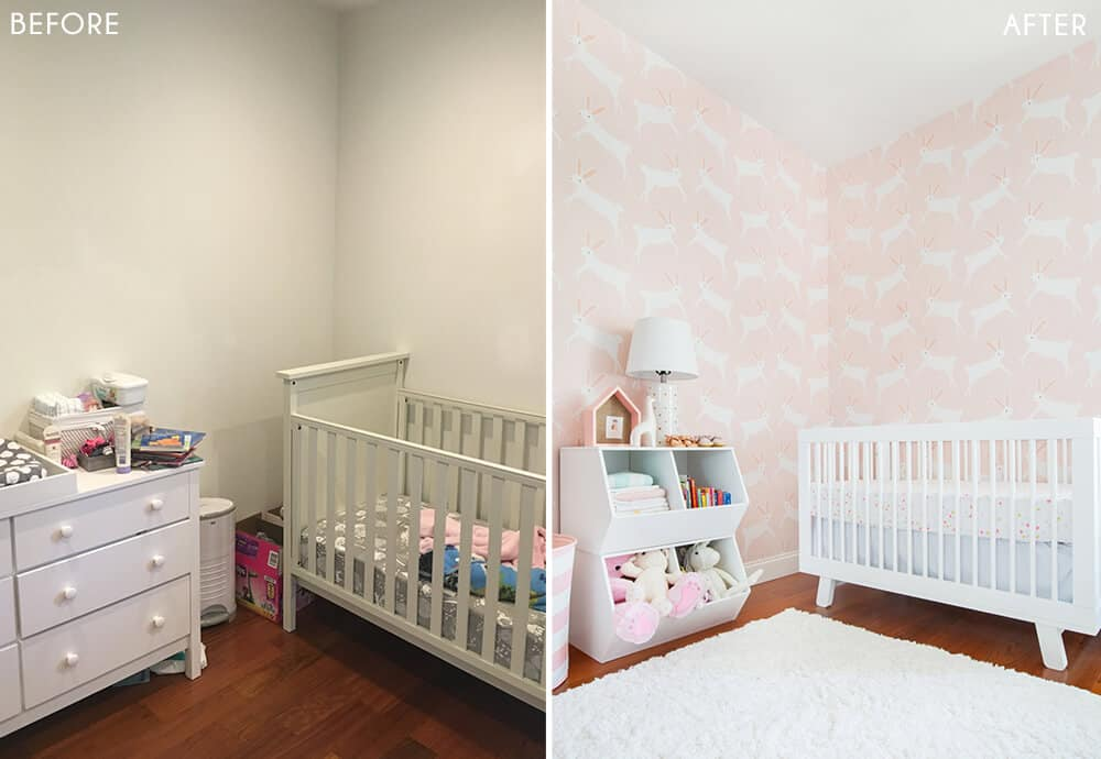 Target Pillowfort Nursery Makeover Baby Girl Pink and White Emily Henderson Before and After 2