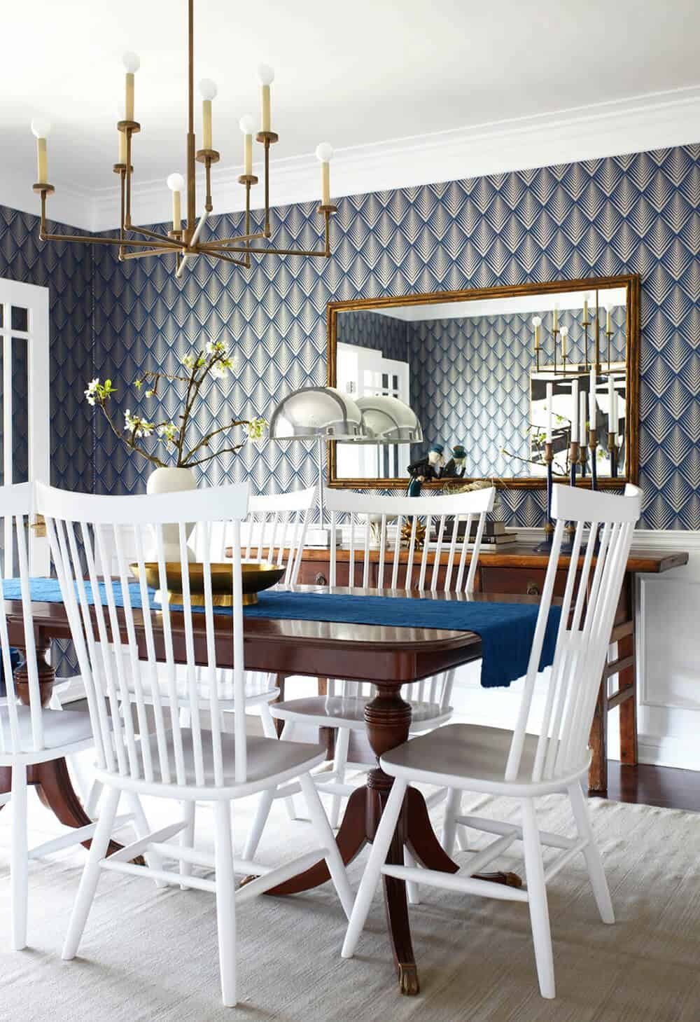 dining room blue brass simple traditional white_vintage and new