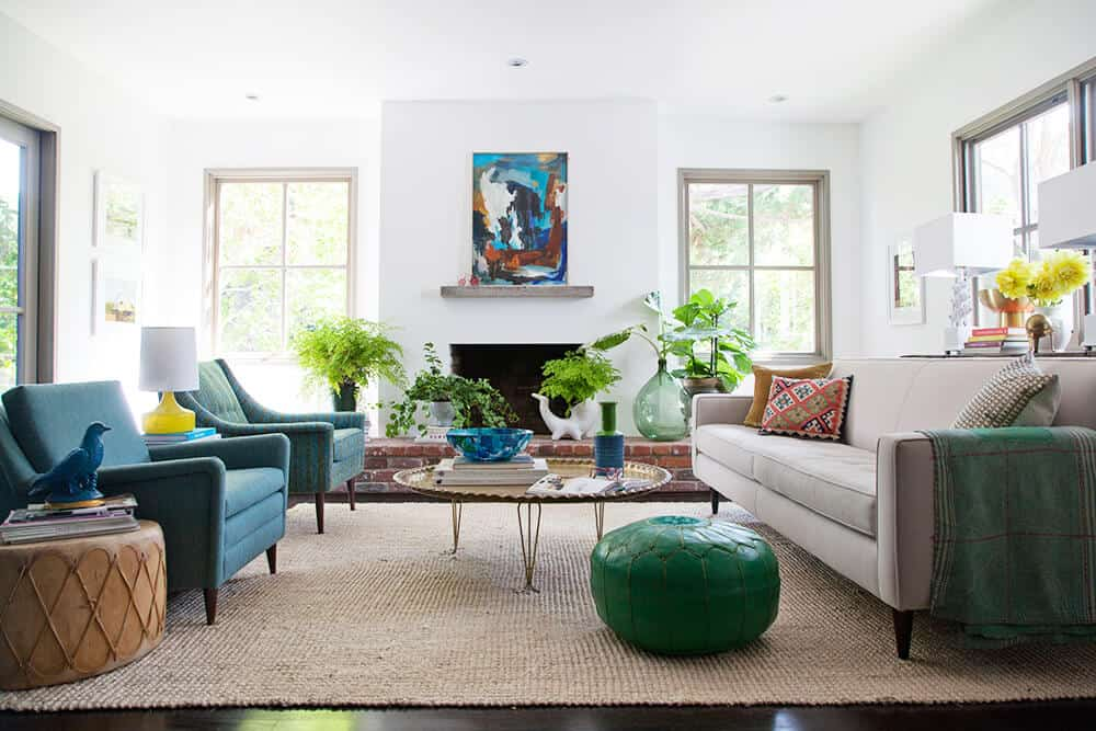 living room eclectic blue green emily henderson_cohesive color palette