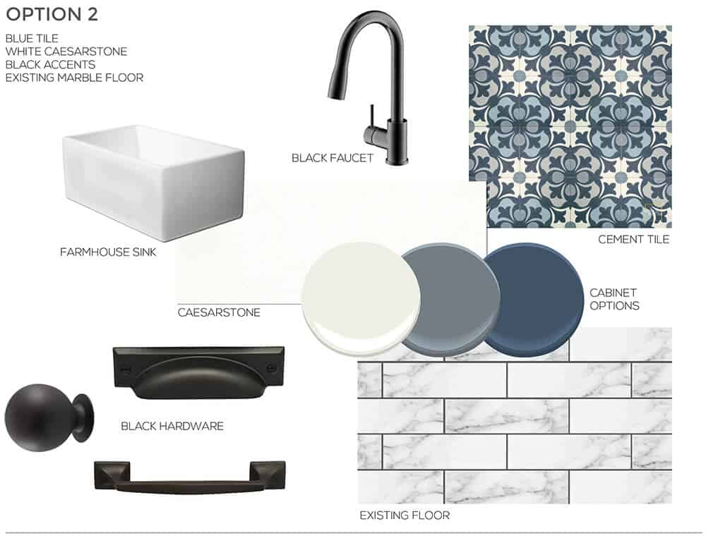 Blue and Black Inspiration Sarah Stabuel Kitchen Concept Plan Emily Henderson Design