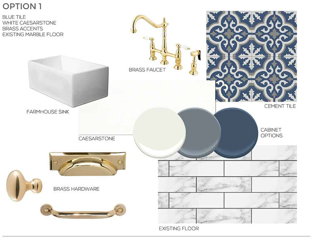 Blue and Gold Inspiration Sarah Stabuel Kitchen Concept Plan Emily Henderson Design