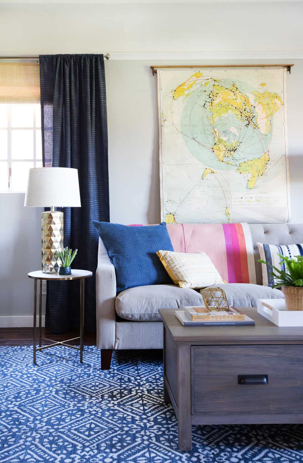Emily Henderson_Target_Makeover_Nanny Suprise_Happy_Modern_Traditional_Eclectic_Makeover_Blue_Pink_Living Room_11