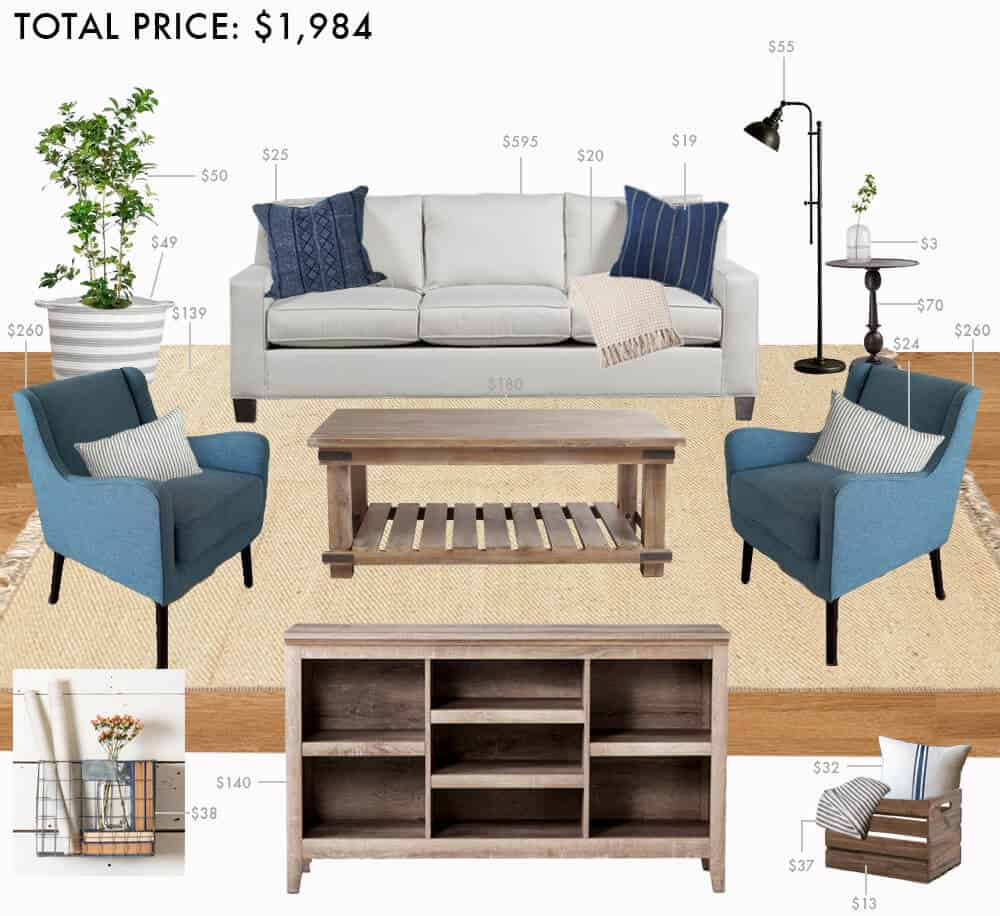 Modern Farmhouse Living Room: Budget Living Room: Modern Farmhouse