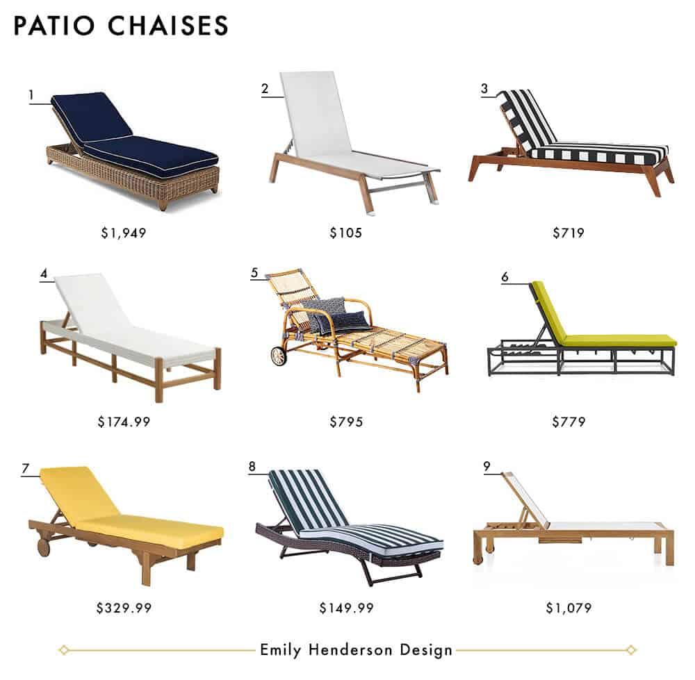 Patio Chaises Emily Henderson Design Outdoor Patio Furniture Roundup