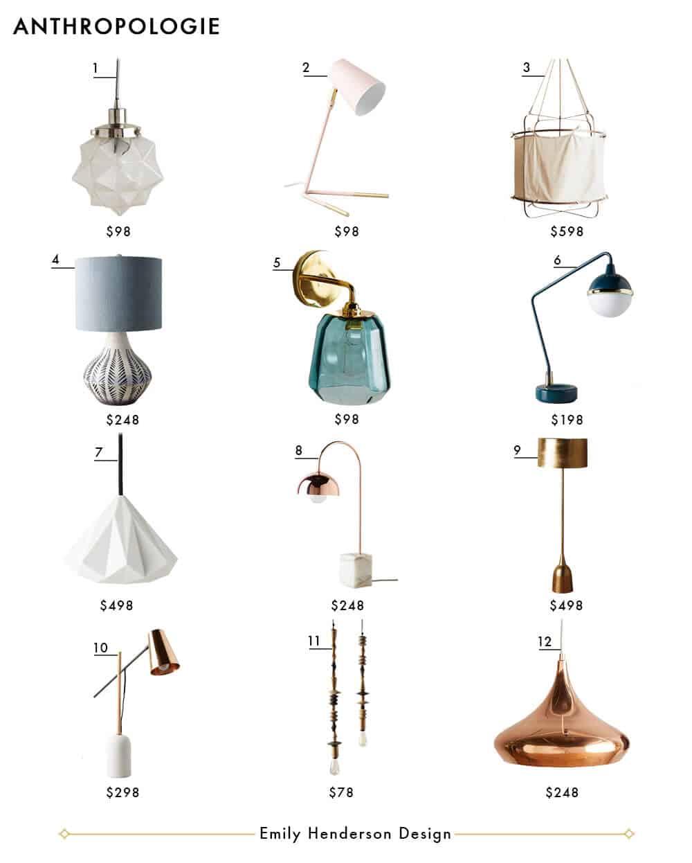 Anthropologie Emily Henderson Design Lighting Roundup