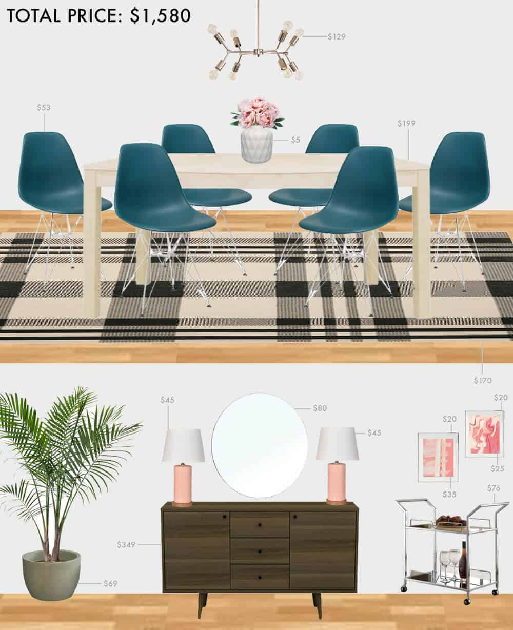 Budget-Dining-Room_Emily-Henderson_Roundup_Affordable_MidCentury_Eclectic_Blue_Pink_1.5K