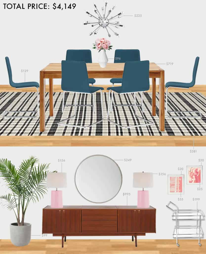 Budget-Dining-Room_Emily-Henderson_Roundup_Affordable_MidCentury_Eclectic_Blue_Pink_5K