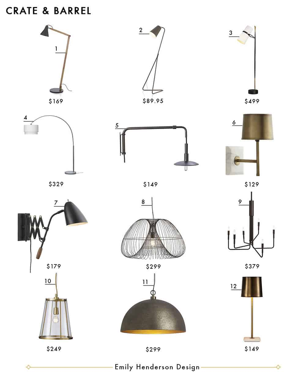 Crate and Barrel Emily Henderson Design Lighting Roundup