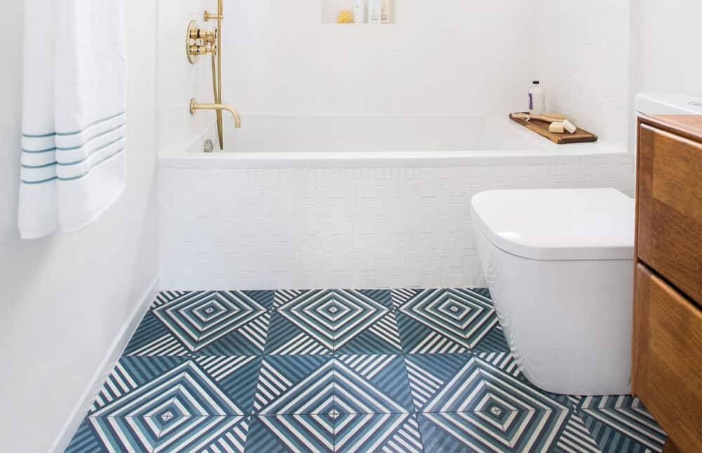 Cropped Emily Henderson Guest Bathroom Redesign Reveal After Photos Tile Mid Century-273
