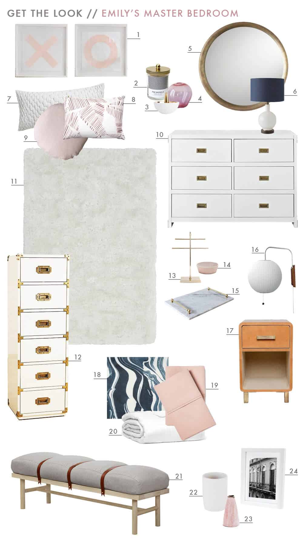 Get The Look Master Bedroom Reveal Emily Henderson Design Pink Gold White Navy Blue