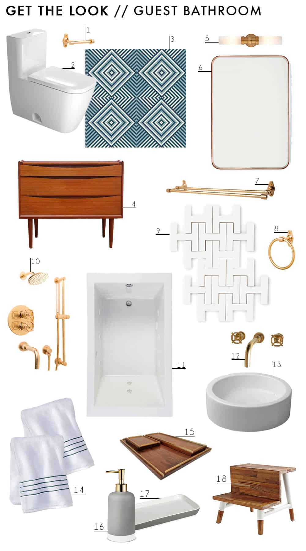 NEW Bathroom Remodel Emily Henderon Guest Bath Get The Look Brass Blue White Tile
