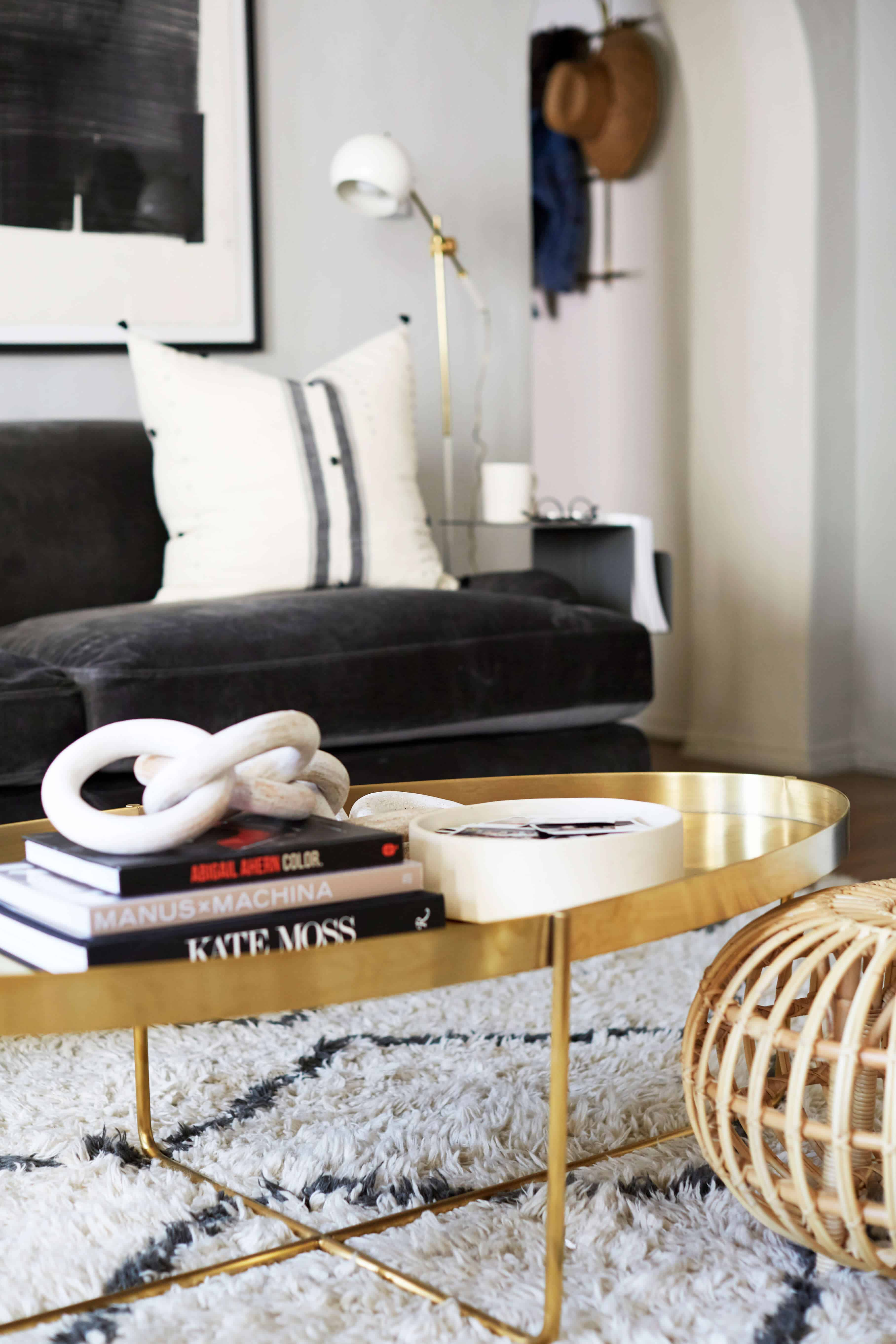 brady-tolbert-design_emily-henderson_living-room_eclectic_pavillion-grey_farrow-and-ball_brass-coffee-table_english-roll-arm_albini_masculine_traditional_west-elm_souk_flokati_leather_12
