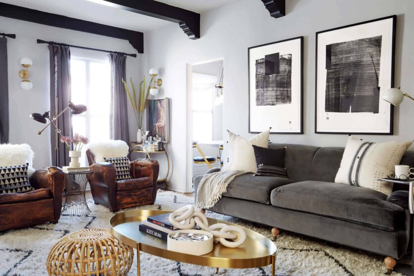 brady-tolbert-design_emily-henderson_living-room_eclectic_pavillion-grey_farrow-and-ball_brass-coffee-table_english-roll-arm_albini_masculine_traditional_west-elm_souk_flokati_leather_4