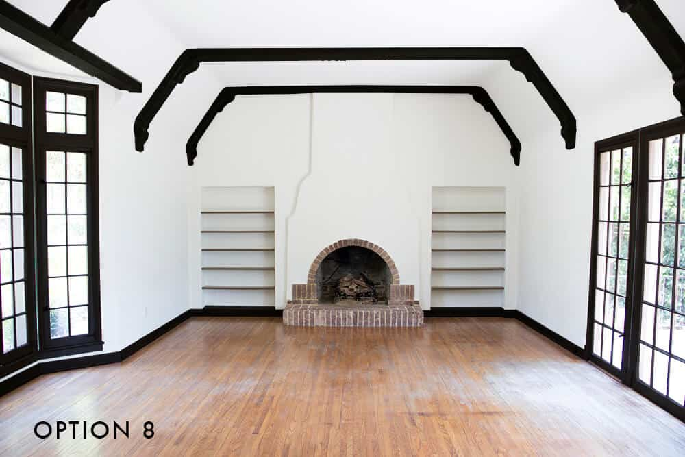 option-8-emily-henderson_house_living-room_painting_trimwork_white-walls-black-baseboards-black-trim-and-black-beams