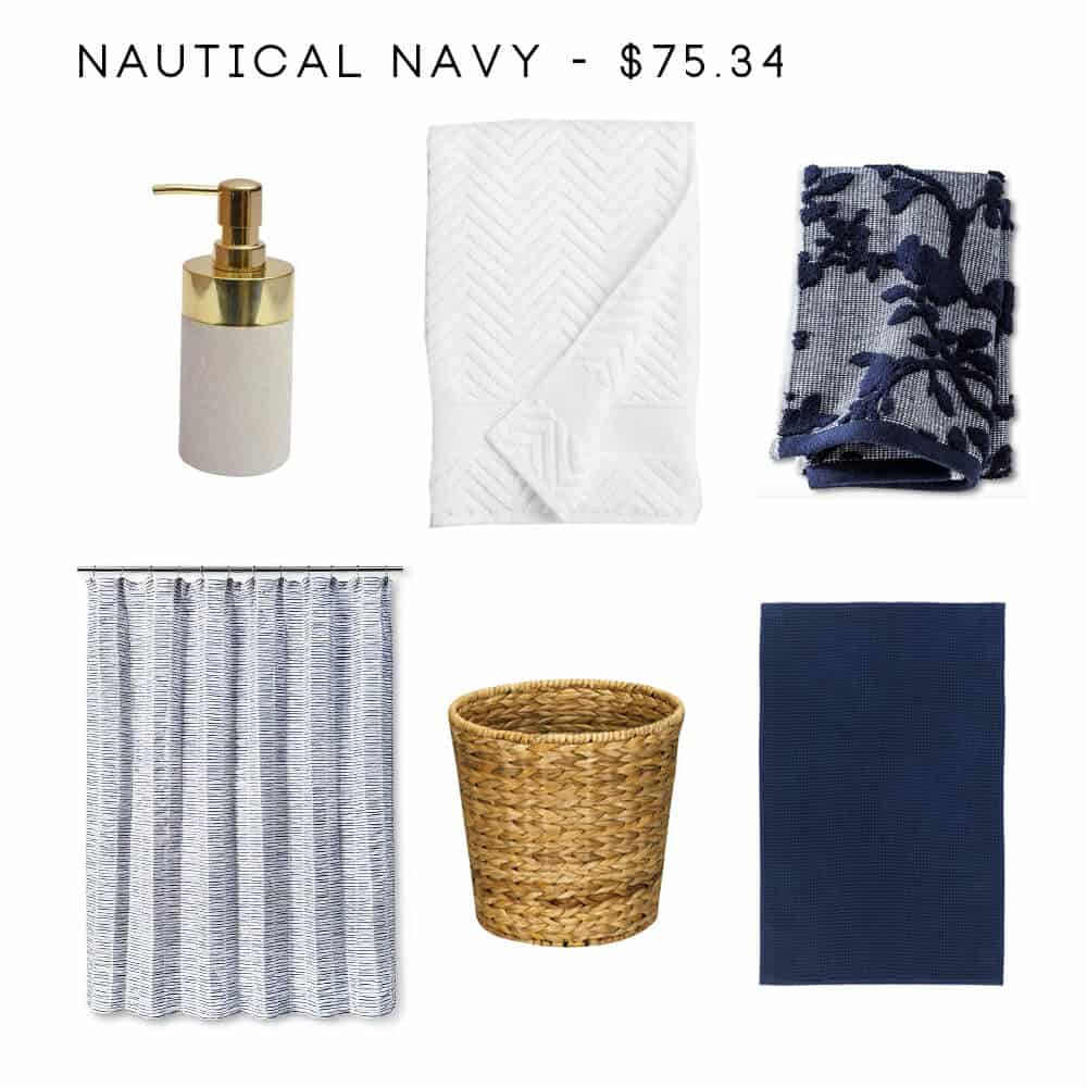 8 bathroom accessory combos to rescue your drab bathroom for Navy bathroom accessories