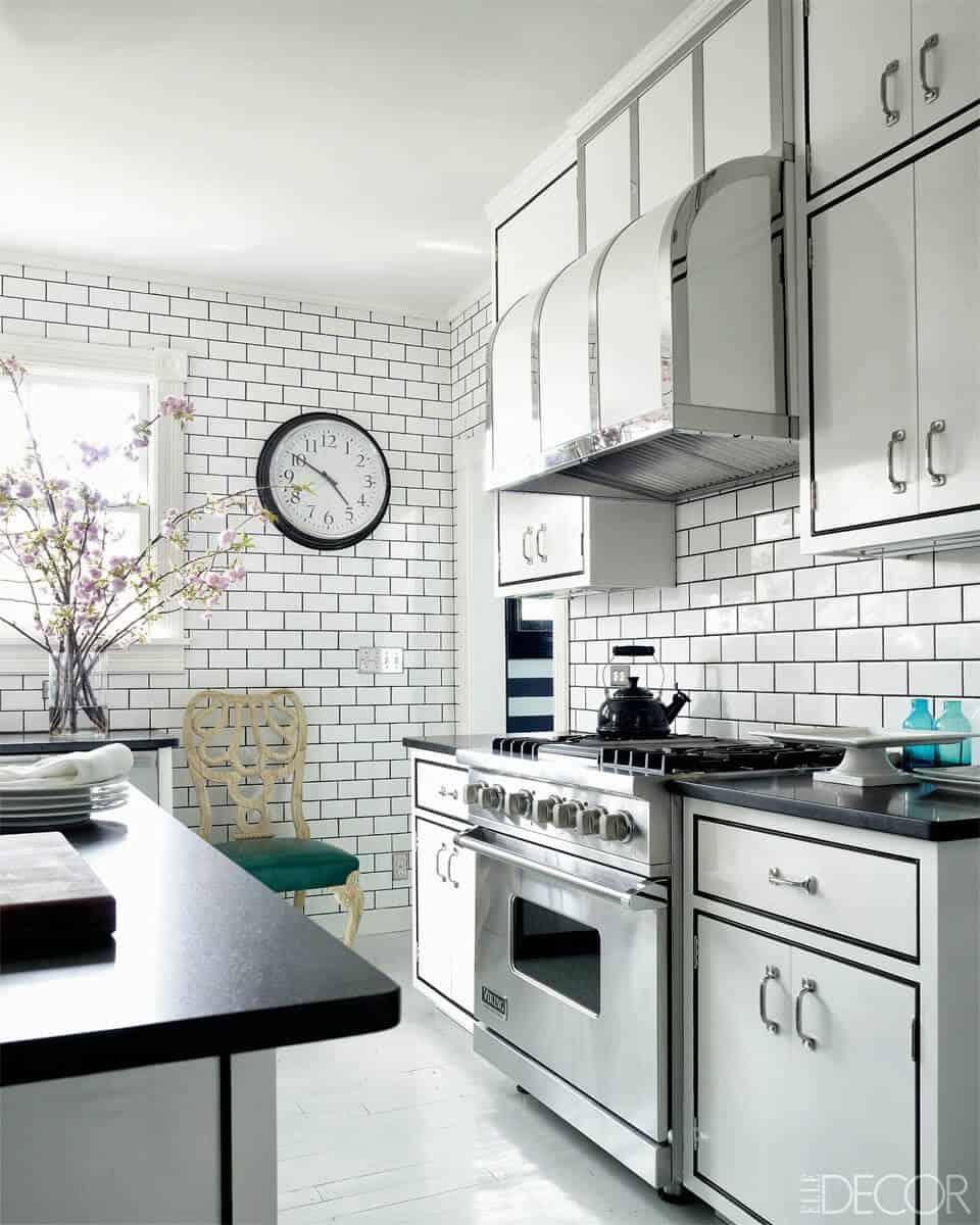 Image of: Black And White Tile Backsplash 277 White Kitchen With Subway Tile Black Grout 960 X 1200 Emily Henderson
