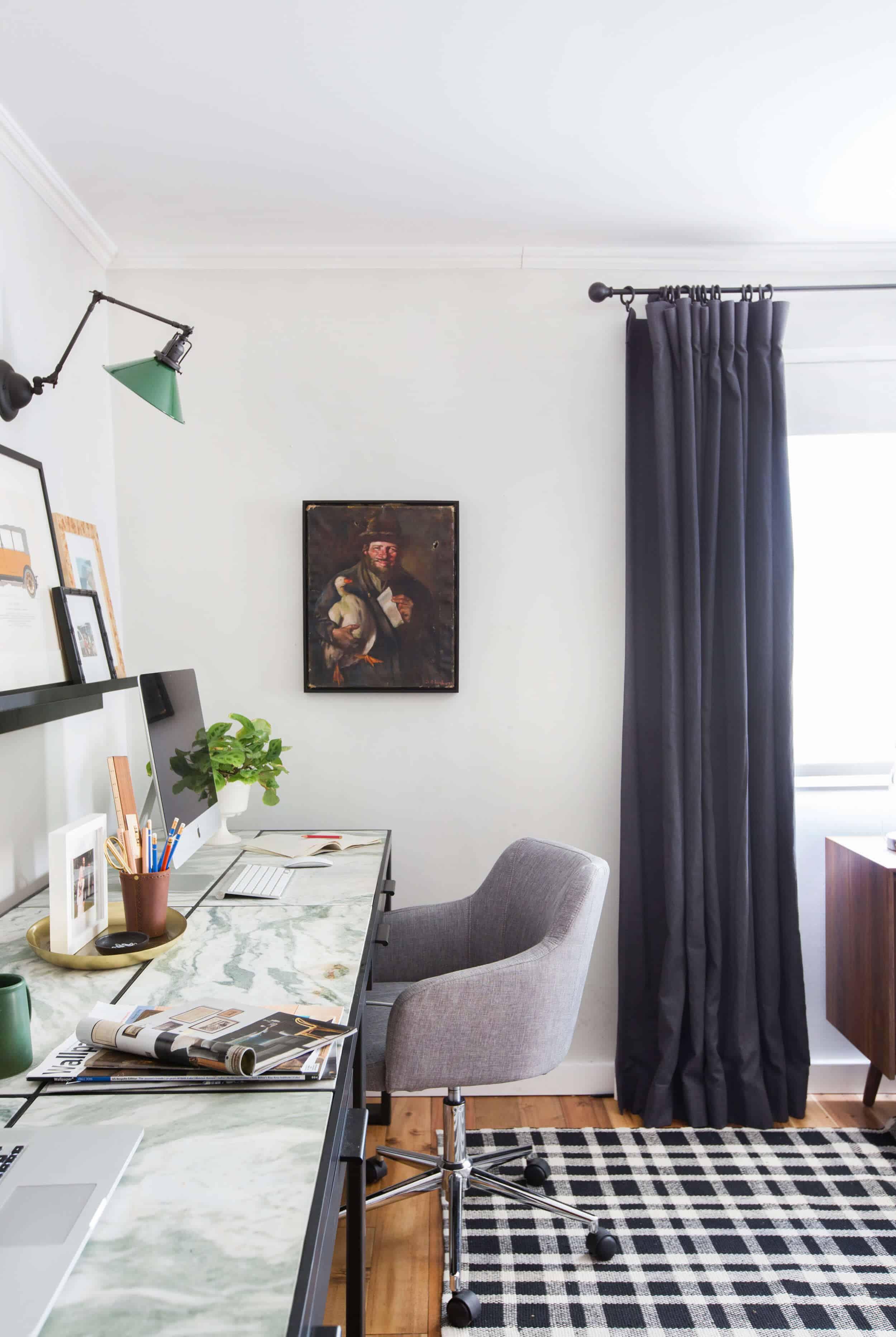 emily-henderson_framebridge_art-ledge_brians-office_masculine-office_guy_green_plaid-rug_workspace_modern_eclectic_12