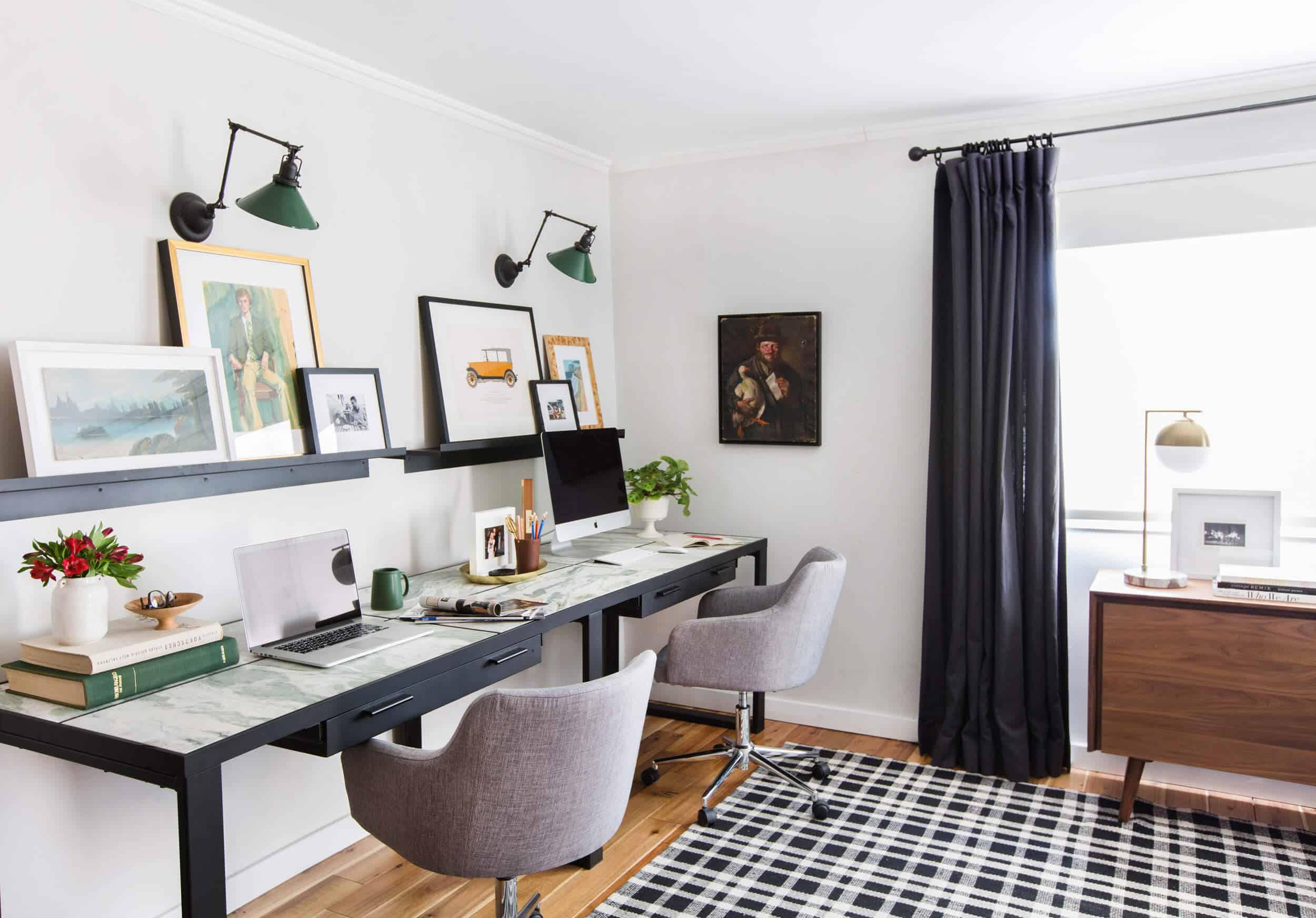 emily-henderson_framebridge_art-ledge_brians-office_masculine-office_guy_green_plaid-rug_workspace_modern_eclectic_13