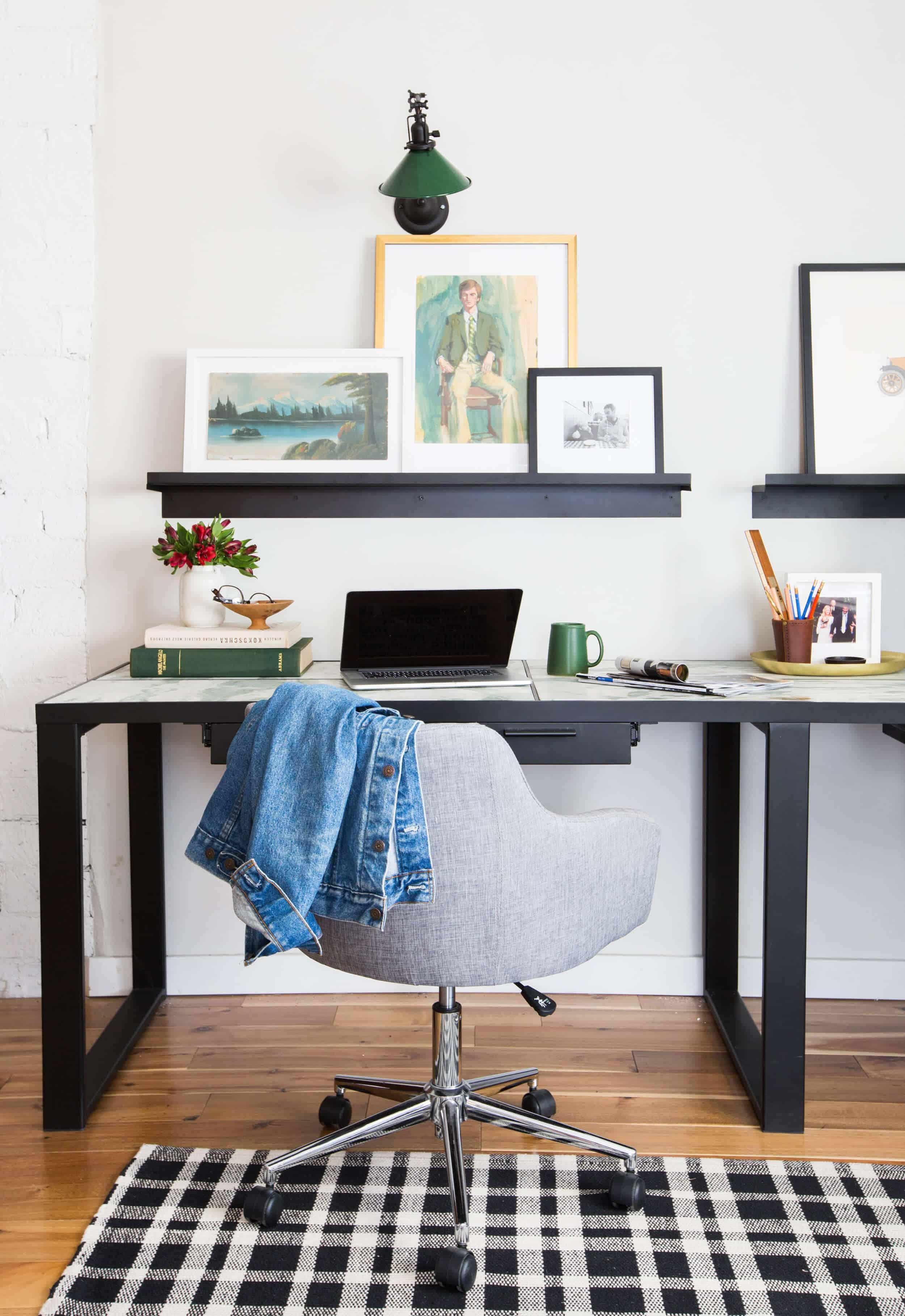 emily-henderson_framebridge_art-ledge_brians-office_masculine-office_guy_green_plaid-rug_workspace_modern_eclectic_2