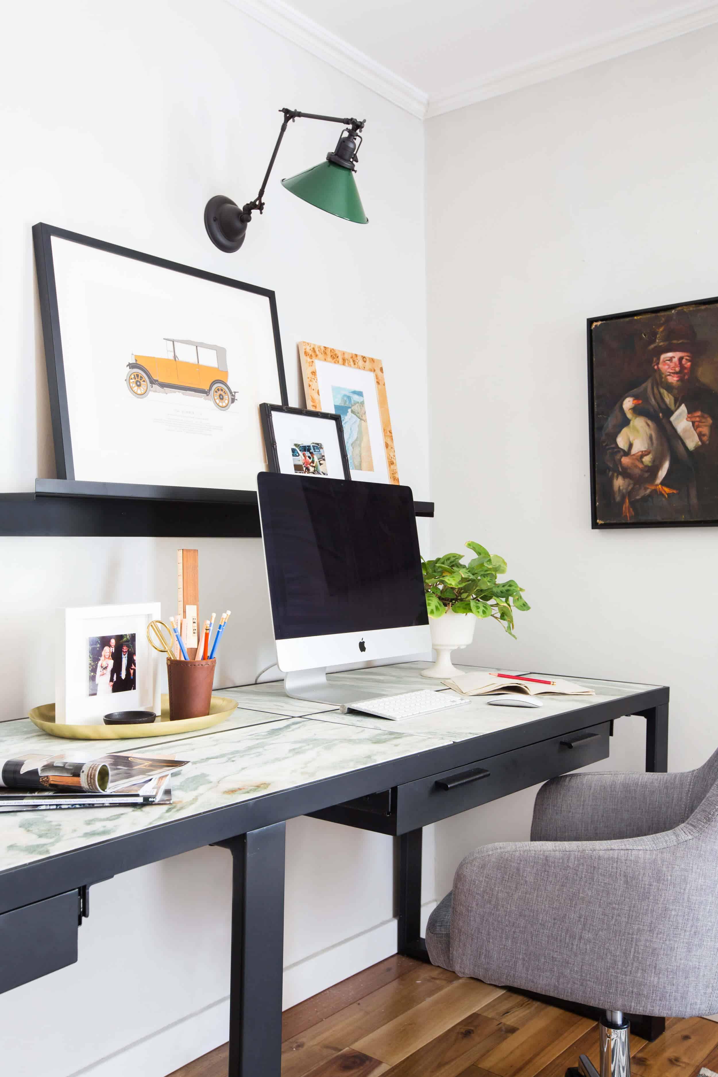 emily-henderson_framebridge_art-ledge_brians-office_masculine-office_guy_green_plaid-rug_workspace_modern_eclectic_6
