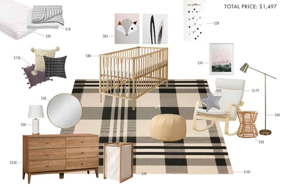 gender-neutral-nursery_plaid_masculine_feminine_modern_graphic_black_white_cream_wood_simple_modern_1500