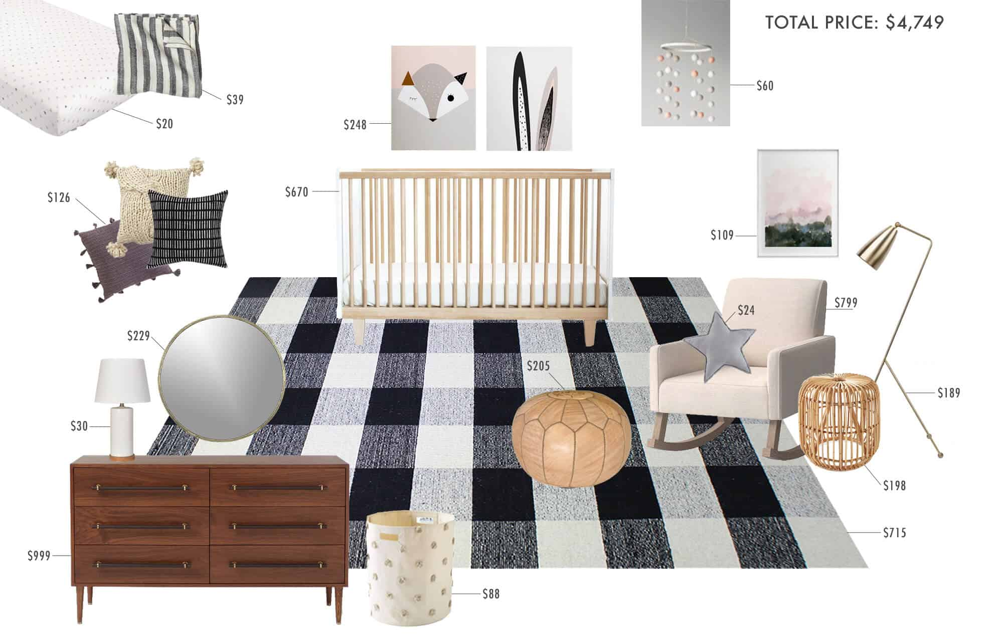 gender-neutral-nursery_plaid_masculine_feminine_modern_graphic_black_white_cream_wood_simple_modern_5k