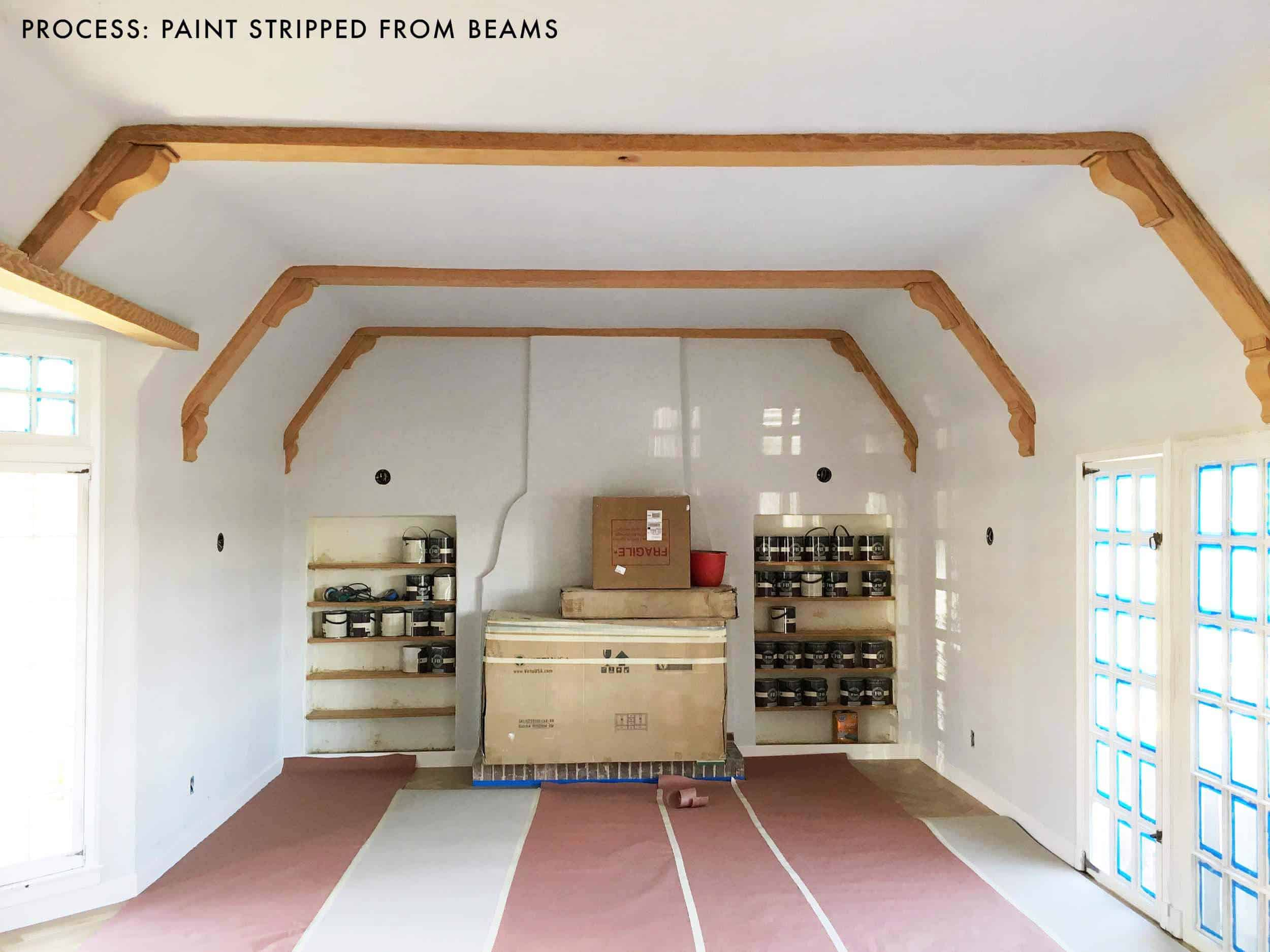 emily-henderson_living-room_wood-naturally_refinishing-beams_process_beams-stripped