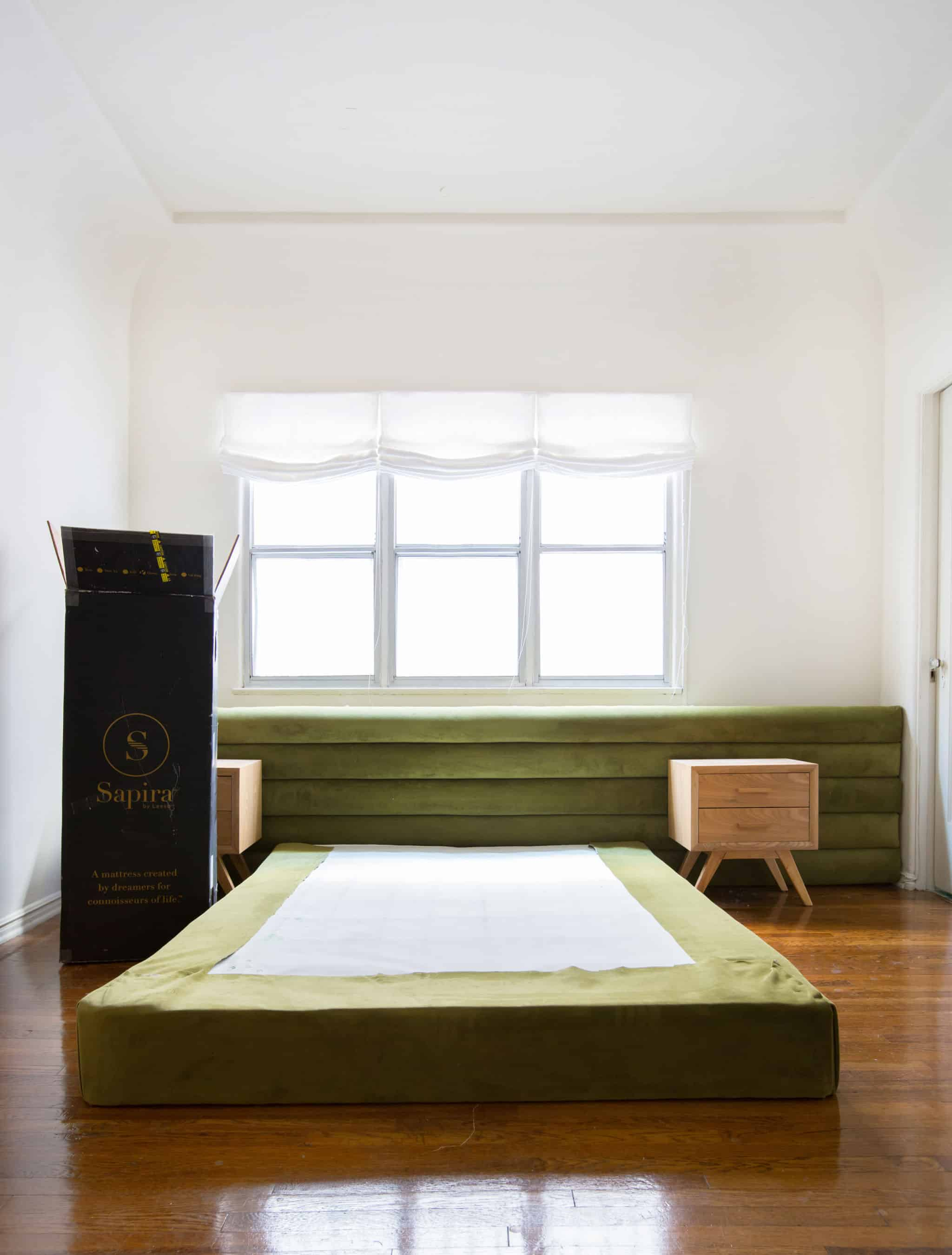 emily-henderson_sapira-mattress_diy-headboard_brady-tolbert_bedroom_green-velvet_channel-tufting_channel-tufted_masculine_boho_chic_headboard_1