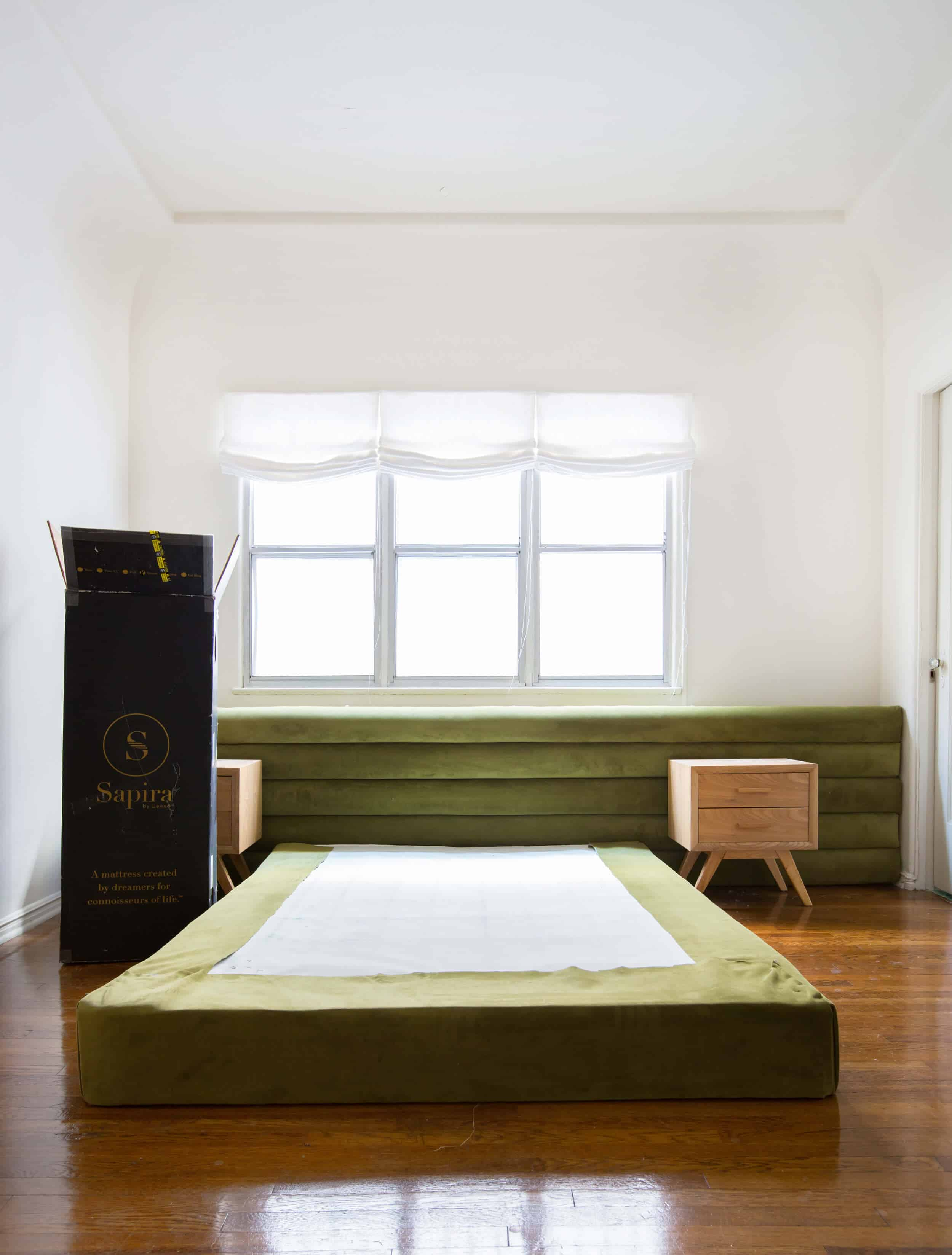 emily-henderson_sapira-mattress_diy-headboard_brady-tolbert_bedroom_green-velvet_channel-tufting_channel-tufted_masculine_boho_chic_headboard_1