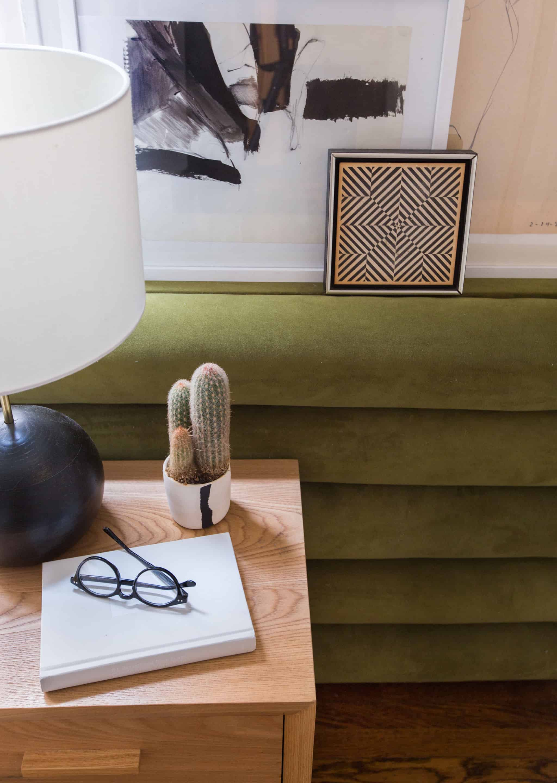 emily-henderson_sapira-mattress_diy-headboard_brady-tolbert_bedroom_green-velvet_channel-tufting_channel-tufted_masculine_boho_chic_headboard_11