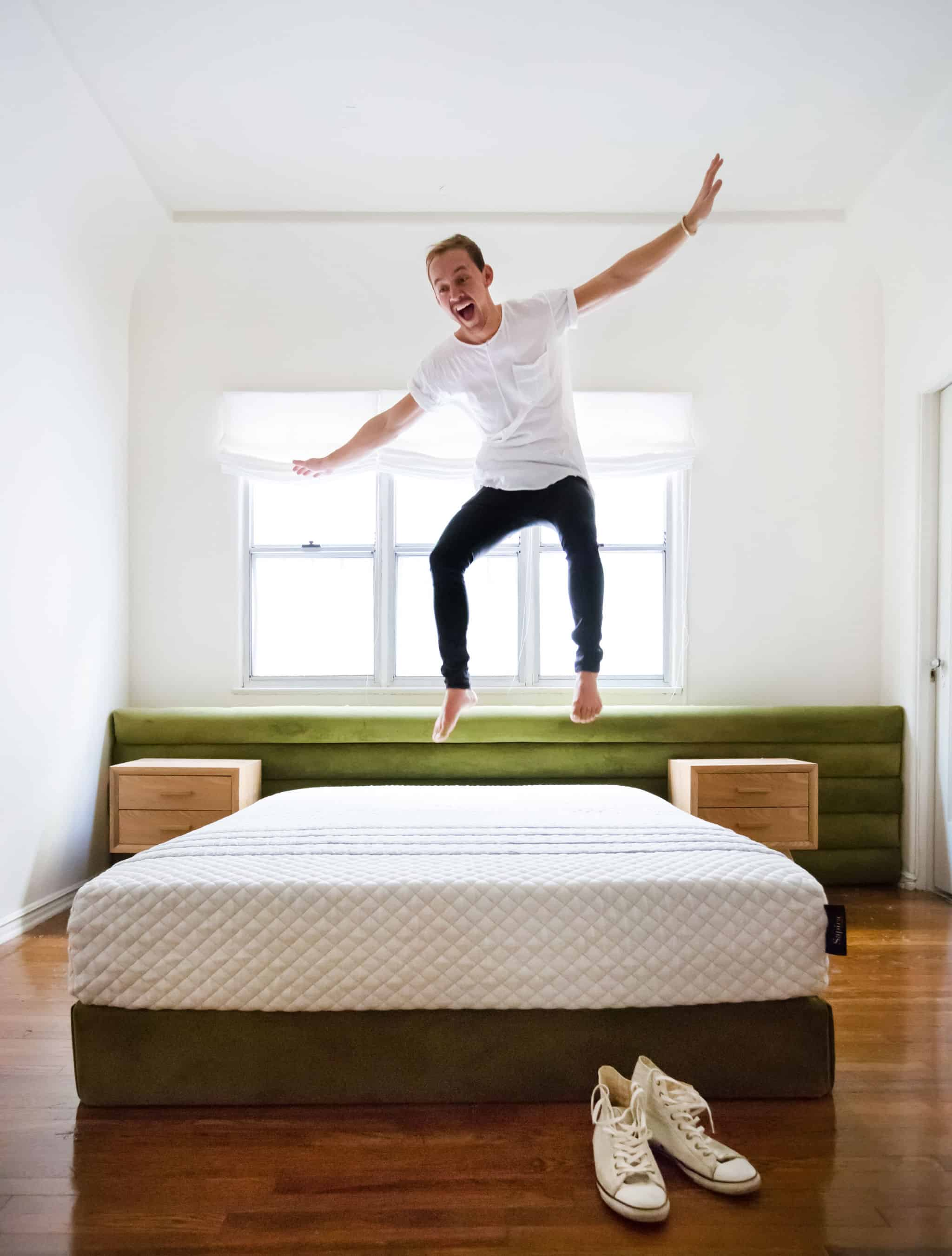 emily-henderson_sapira-mattress_diy-headboard_brady-tolbert_bedroom_green-velvet_channel-tufting_channel-tufted_masculine_boho_chic_headboard_3