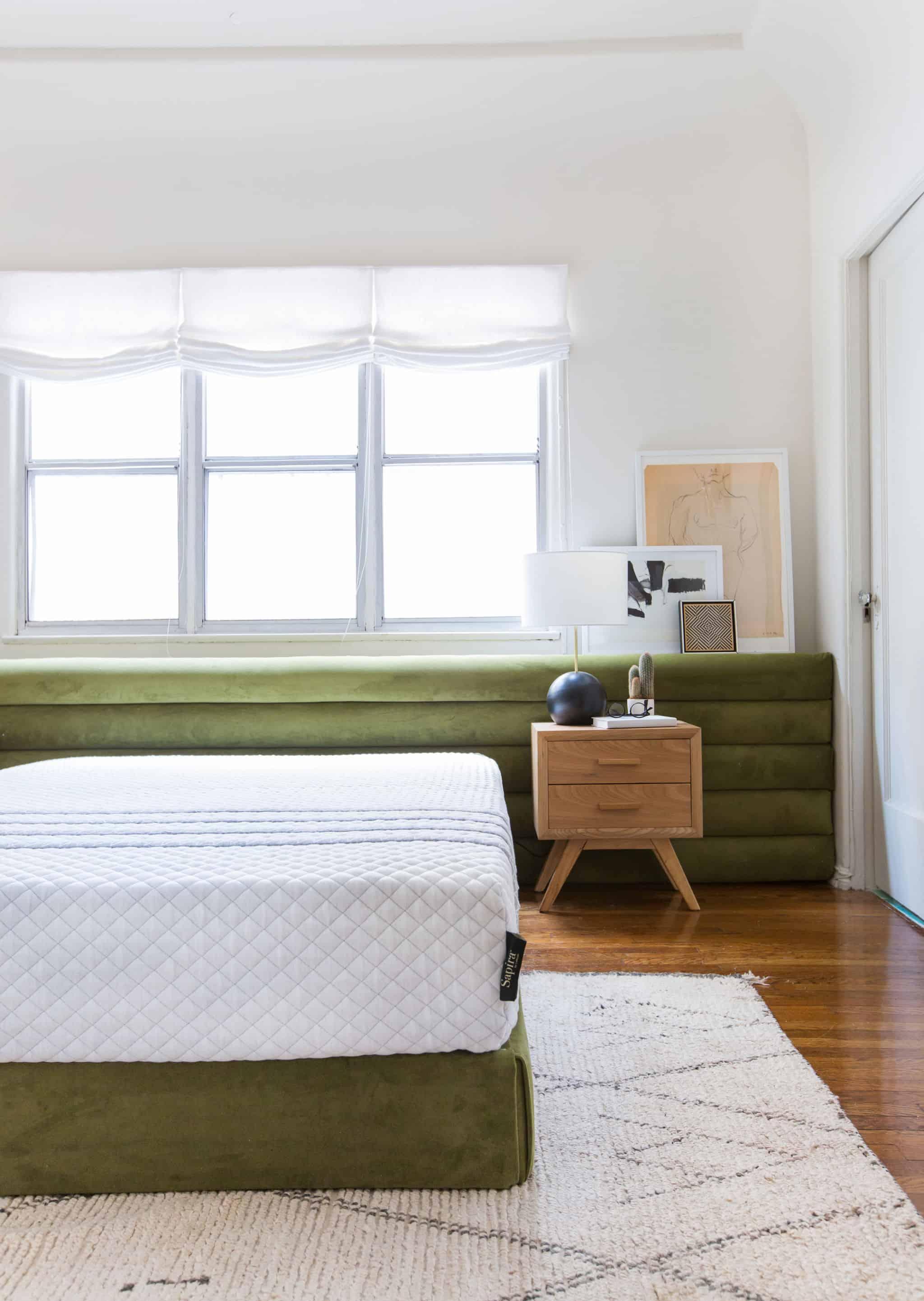 emily-henderson_sapira-mattress_diy-headboard_brady-tolbert_bedroom_green-velvet_channel-tufting_channel-tufted_masculine_boho_chic_headboard_4