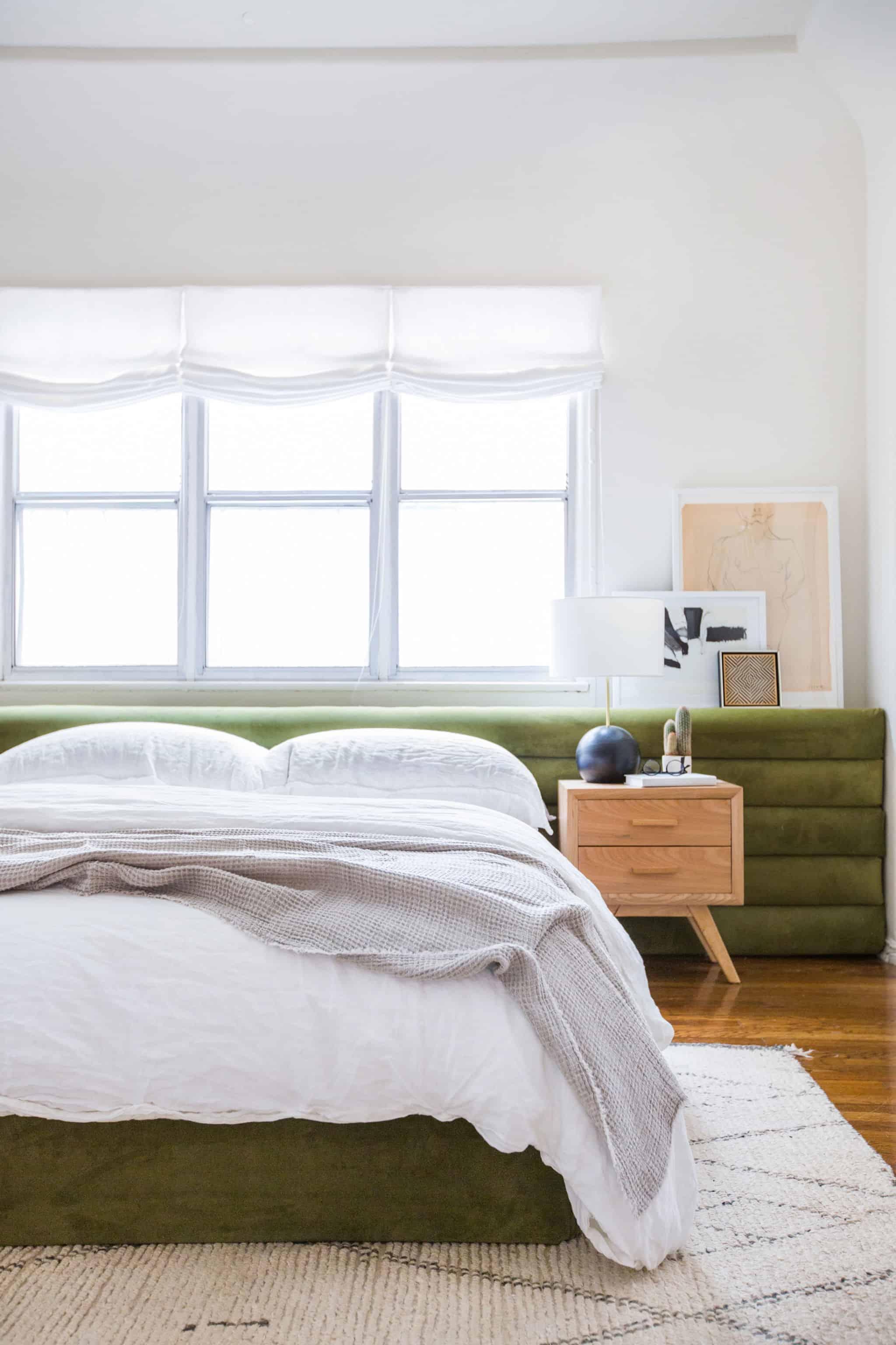 emily-henderson_sapira-mattress_diy-headboard_brady-tolbert_bedroom_green-velvet_channel-tufting_channel-tufted_masculine_boho_chic_headboard_6