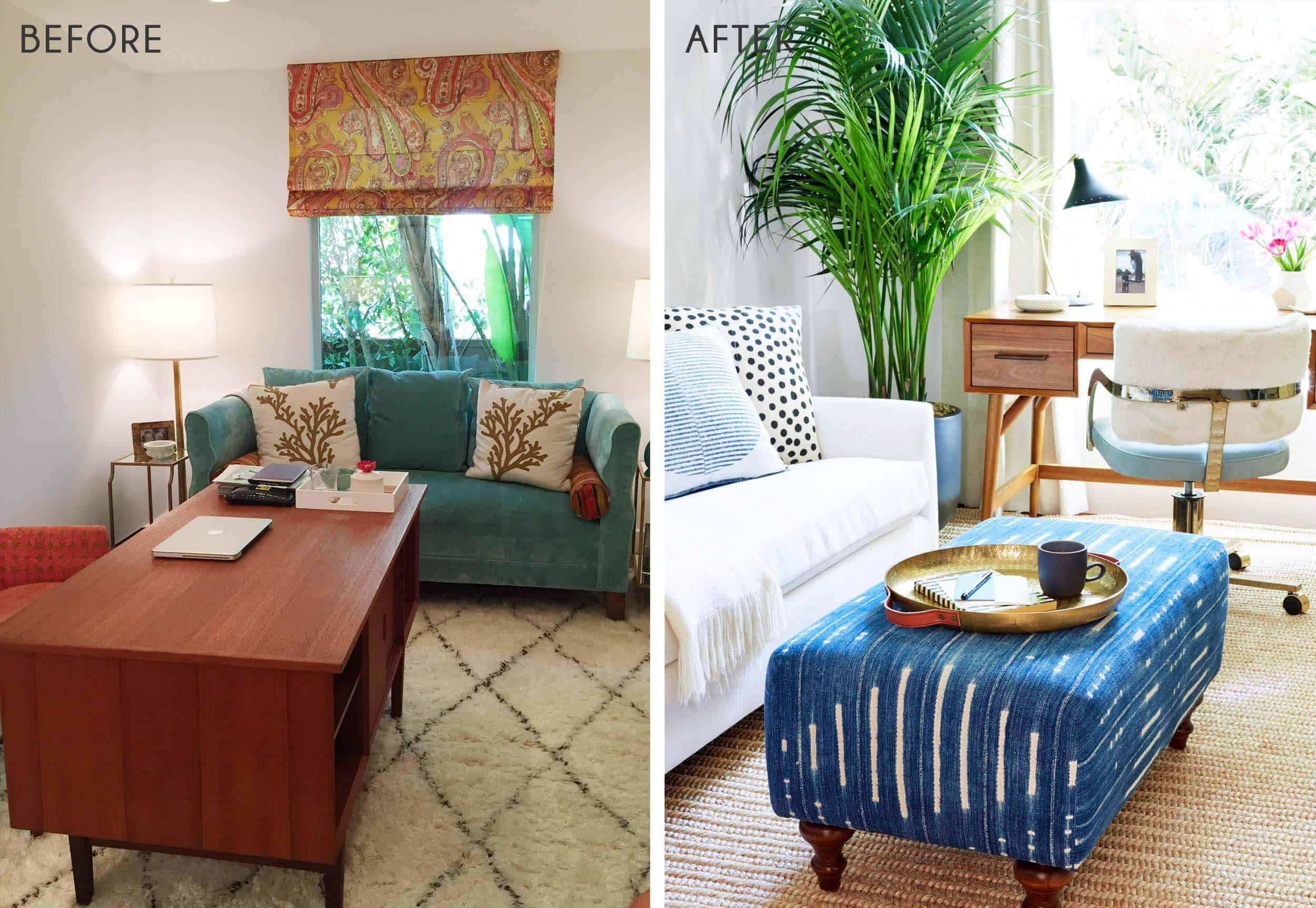 Emily Henderson_Home Office_Feminine_Modern_Airy_Bright_Blue_Pink_Side by Side_1