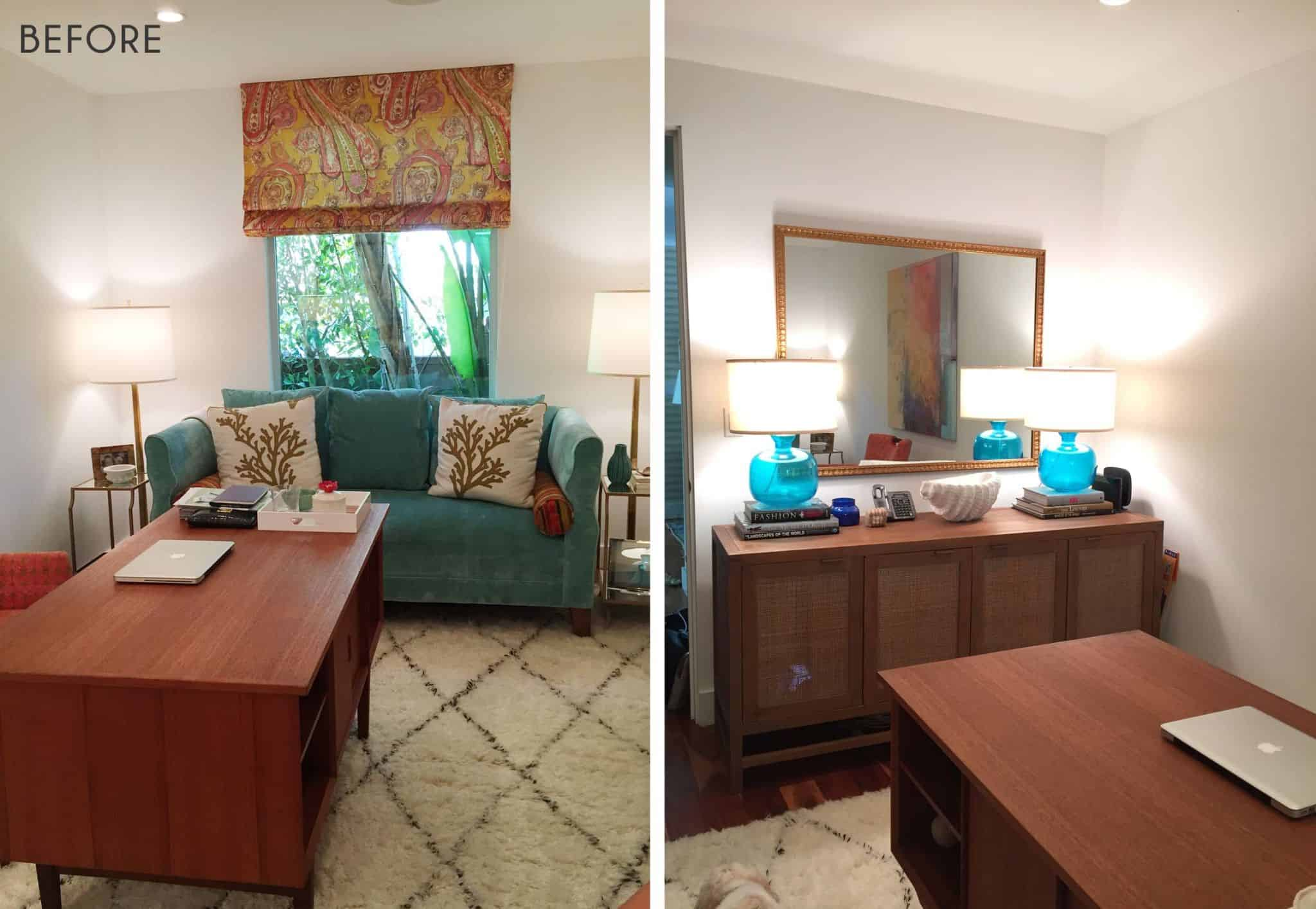 Emily Henderson_Home Office_Feminine_Modern_Airy_Bright_Blue_Pink_Side by Side_BEFORE
