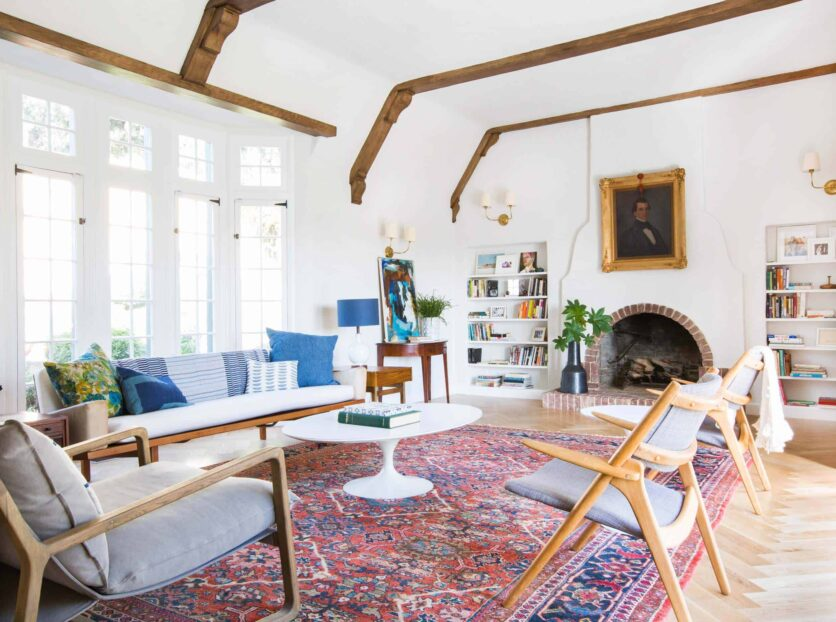 Emily Henderson_Home_Livingroom Design_Wood Naturally_Refinished Beams_1