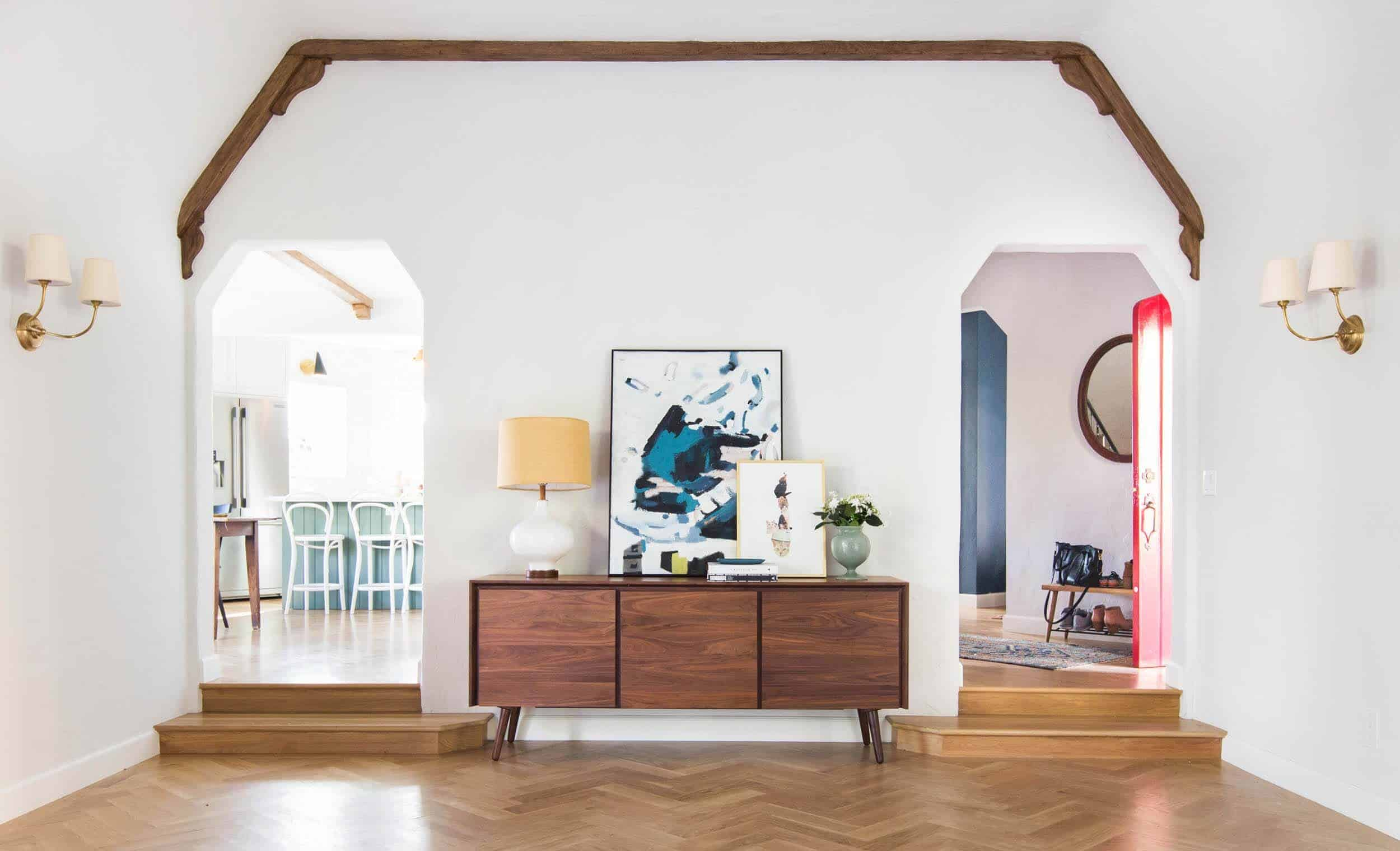 Emily Henderson_Home_Livingroom Design_Wood Naturally_Refinished Beams_11