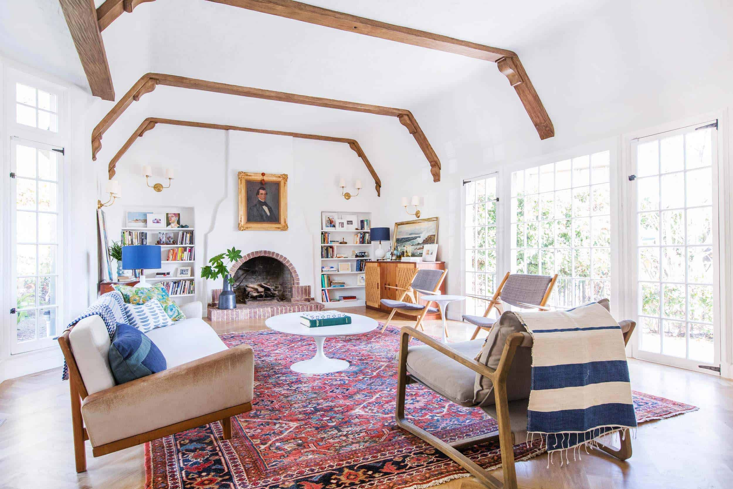 Emily Henderson_Home_Livingroom Design_Wood Naturally_Refinished Beams_3
