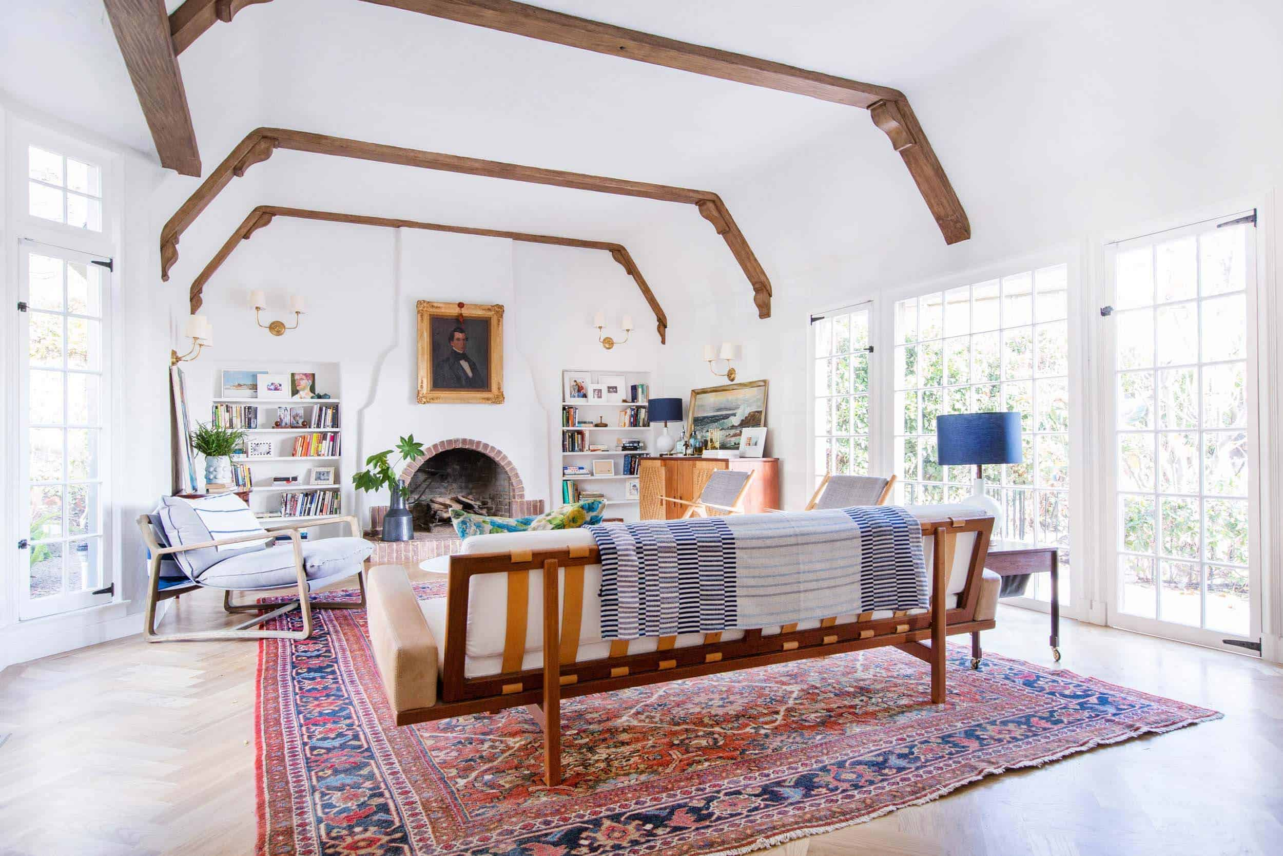 Emily Henderson_Home_Livingroom Design_Wood Naturally_Refinished Beams_4