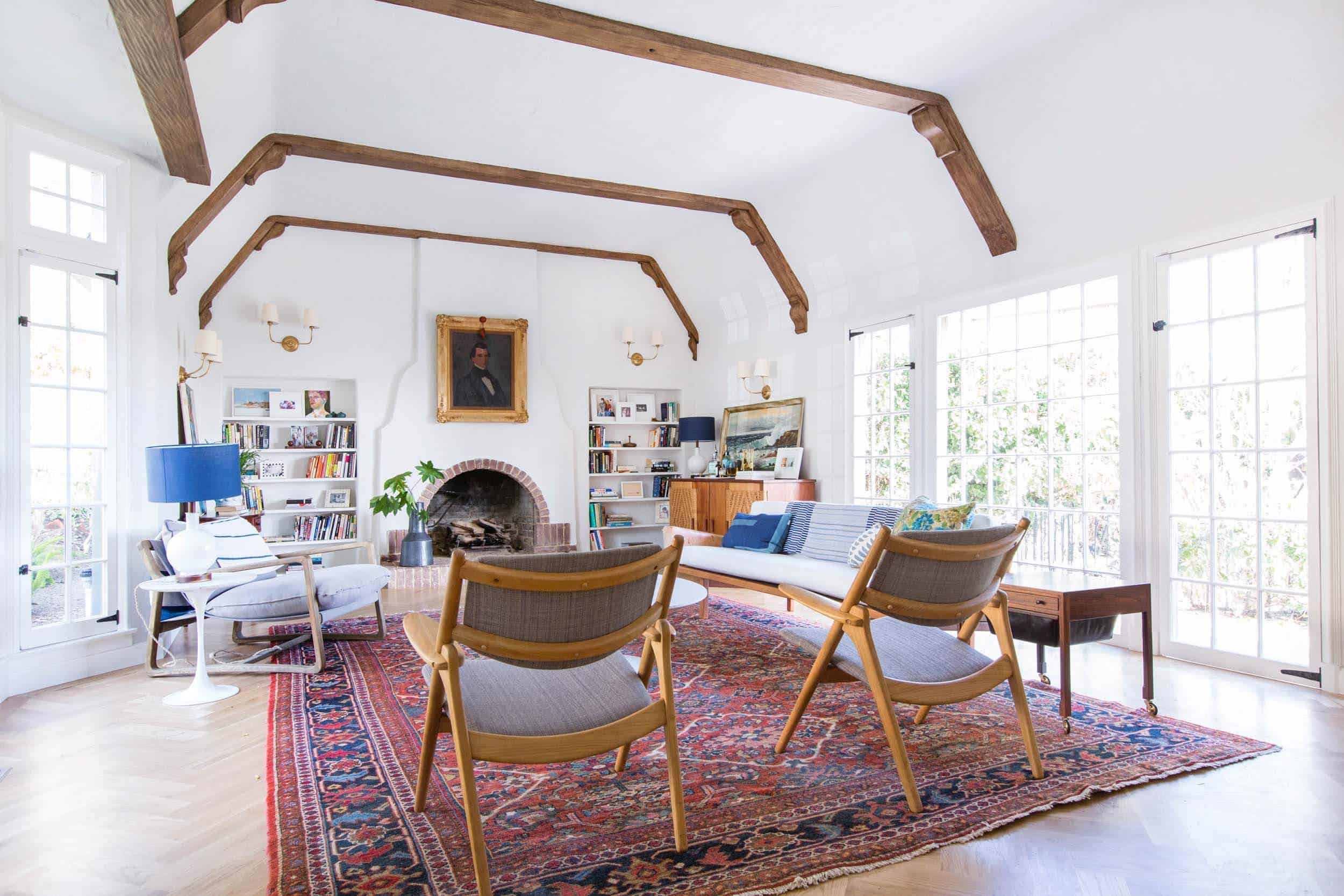Emily Henderson_Home_Livingroom Design_Wood Naturally_Refinished Beams_5