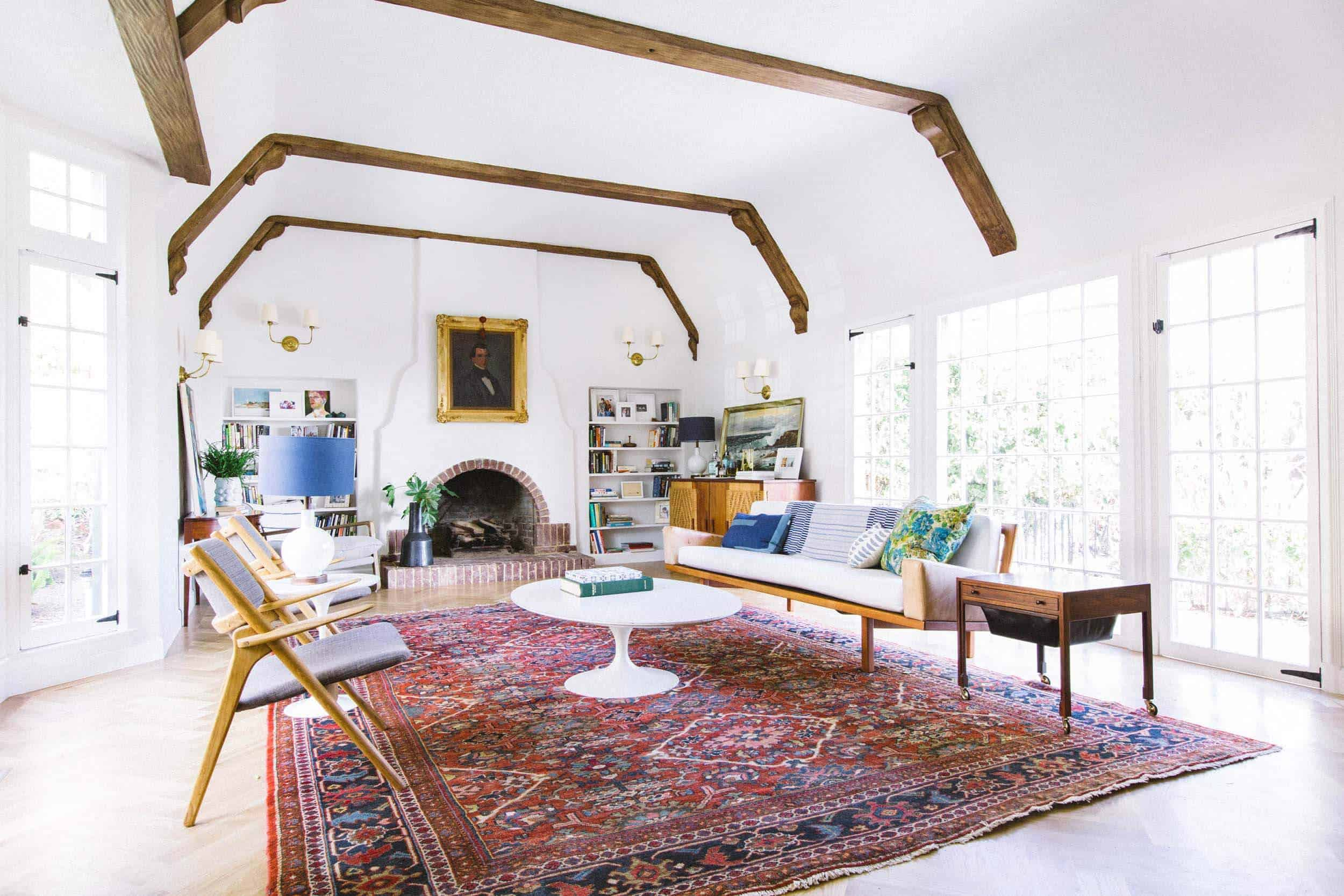 Emily Henderson_Home_Livingroom Design_Wood Naturally_Refinished Beams_6