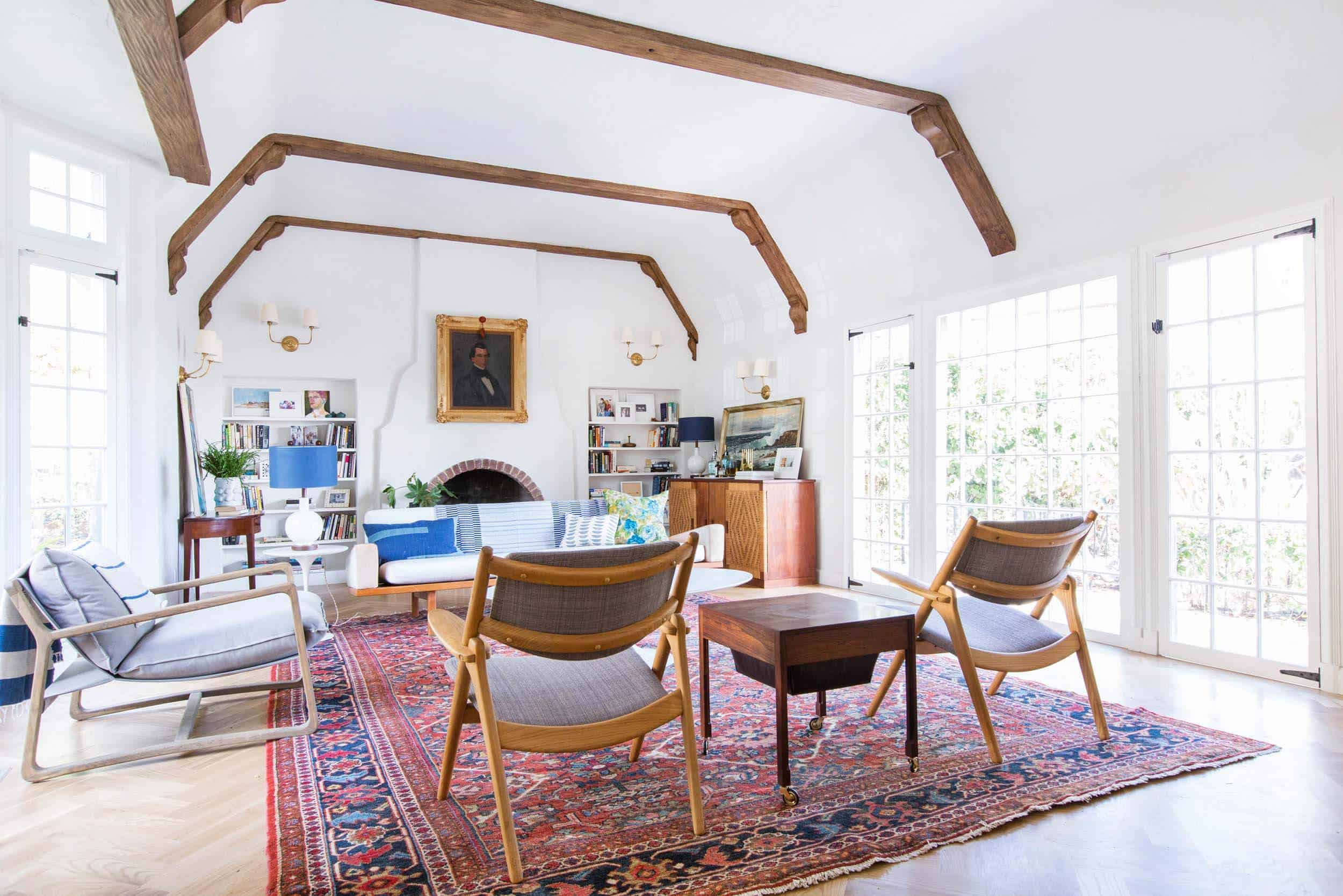 Emily Henderson_Home_Livingroom Design_Wood Naturally_Refinished Beams_7