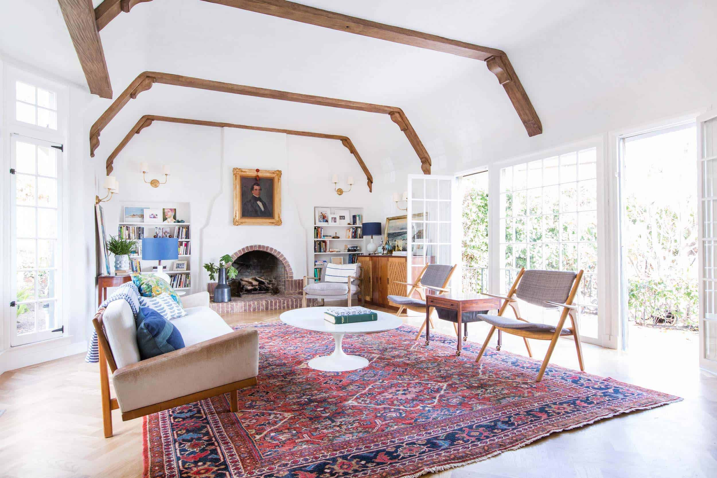Emily Henderson_Home_Livingroom Design_Wood Naturally_Refinished Beams_8