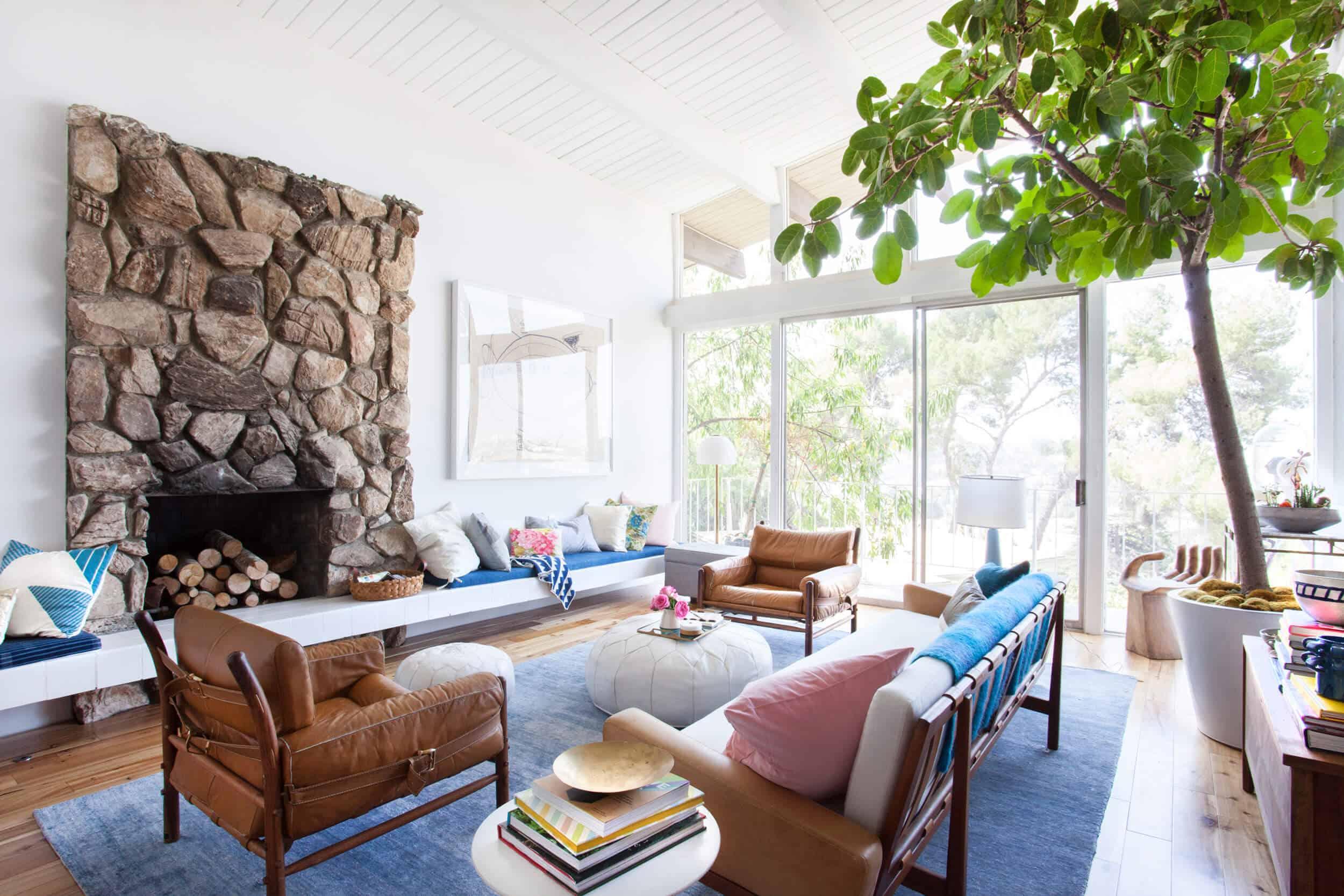 Emily Henderson_Living Room_Mid Century_Bright Poppy_Happy_Pink_Living Room_1
